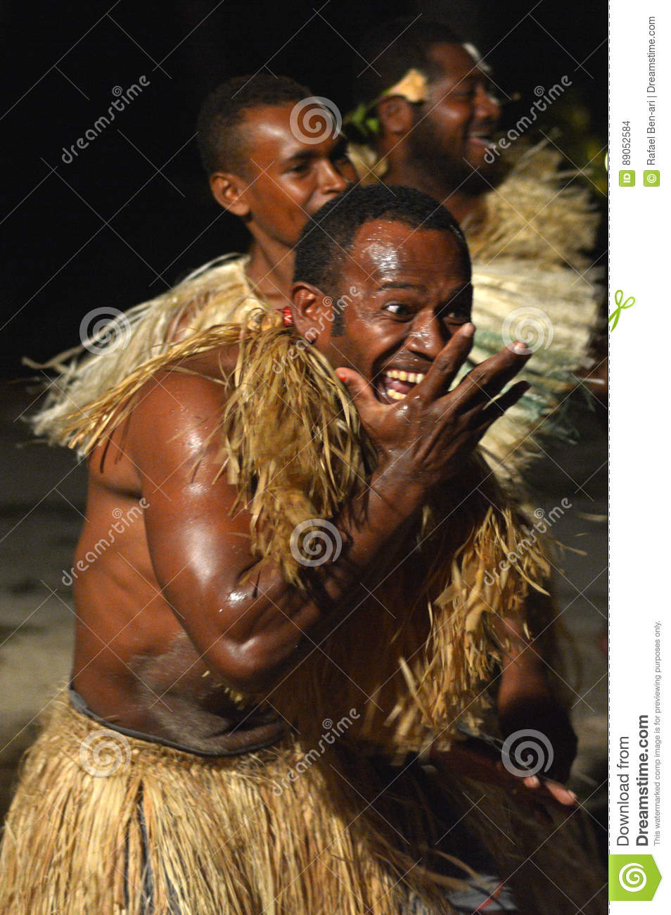 Fijian Men Dancing A Traditional Male Dance Meke Wesi In