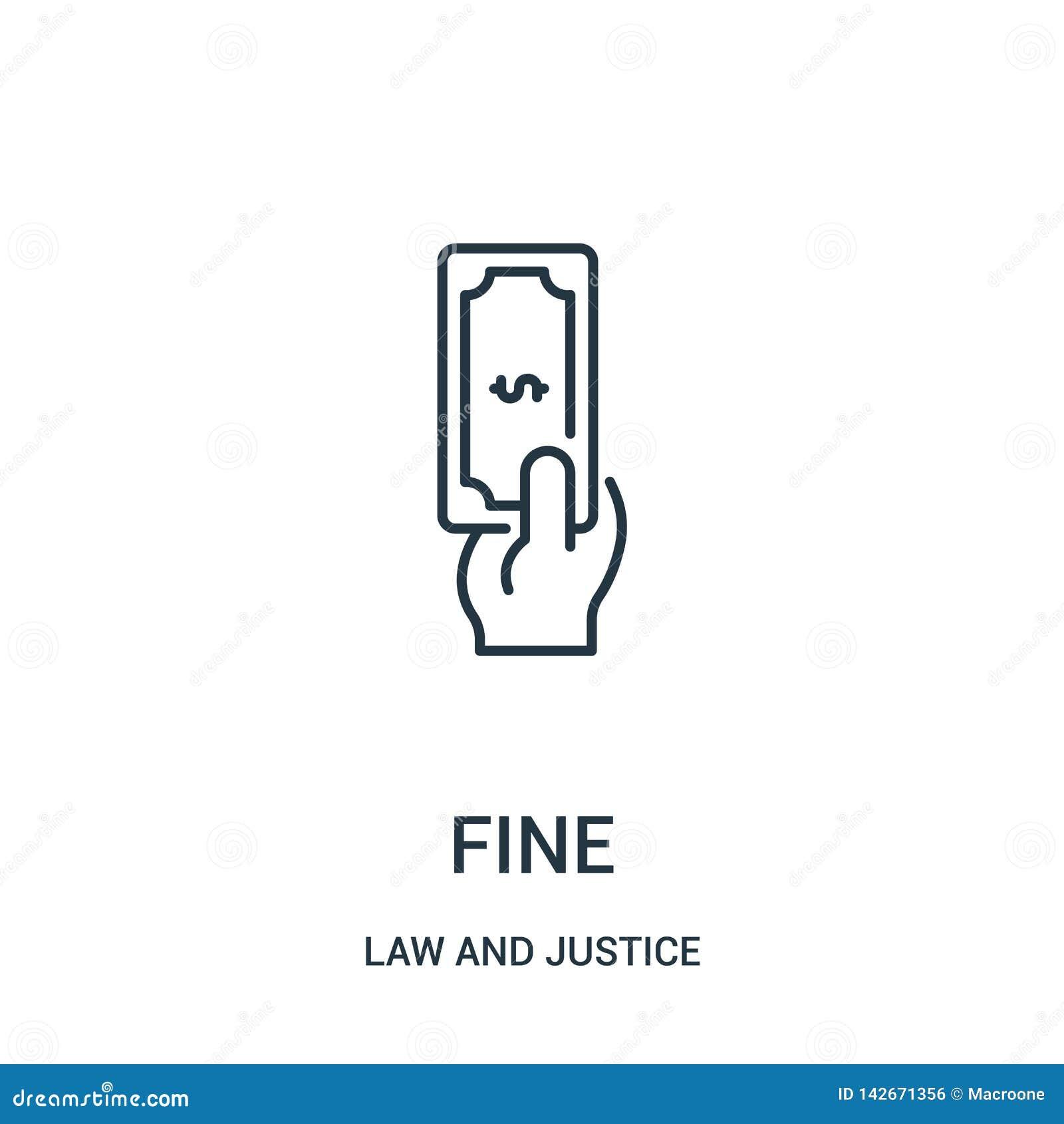 Fijne pictogramvector van wet en rechtvaardigheidsinzameling Dunne het pictogram vectorillustratie van het lijn fijne overzicht L