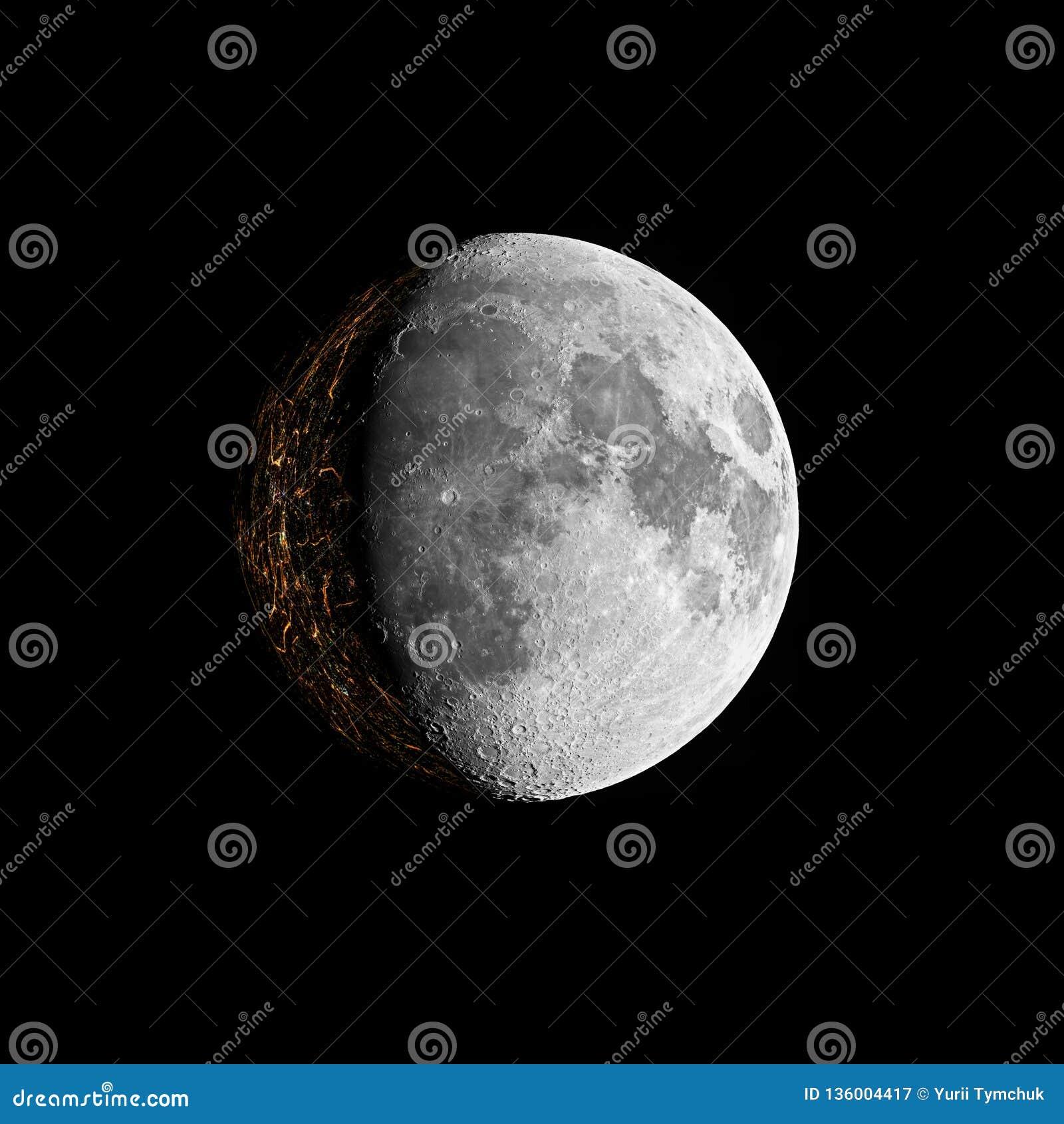 Fikcja zamieszkana księżyc na czerni przestrzeni tle
