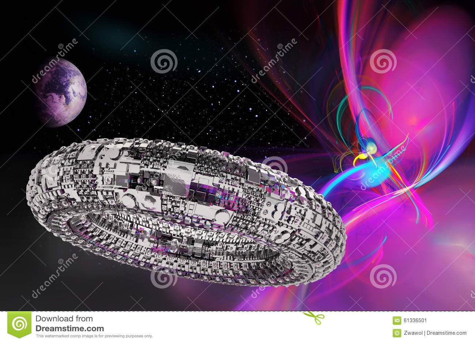 Fiktives Universum mit Raumschiff