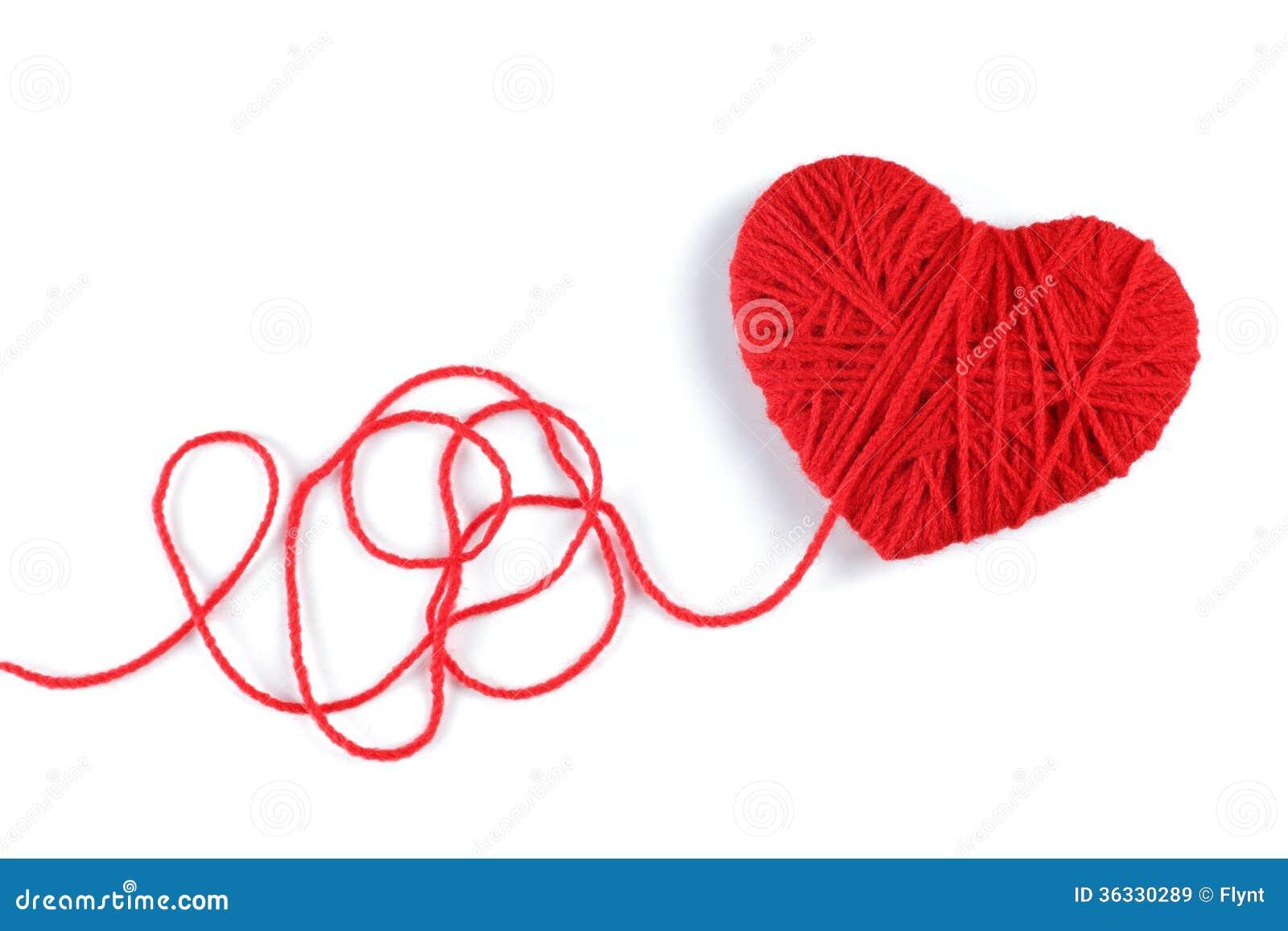 Fil de laine dans le symbole de forme de coeur image stock image du mercerie instruction - Pompon en laine forme coeur ...