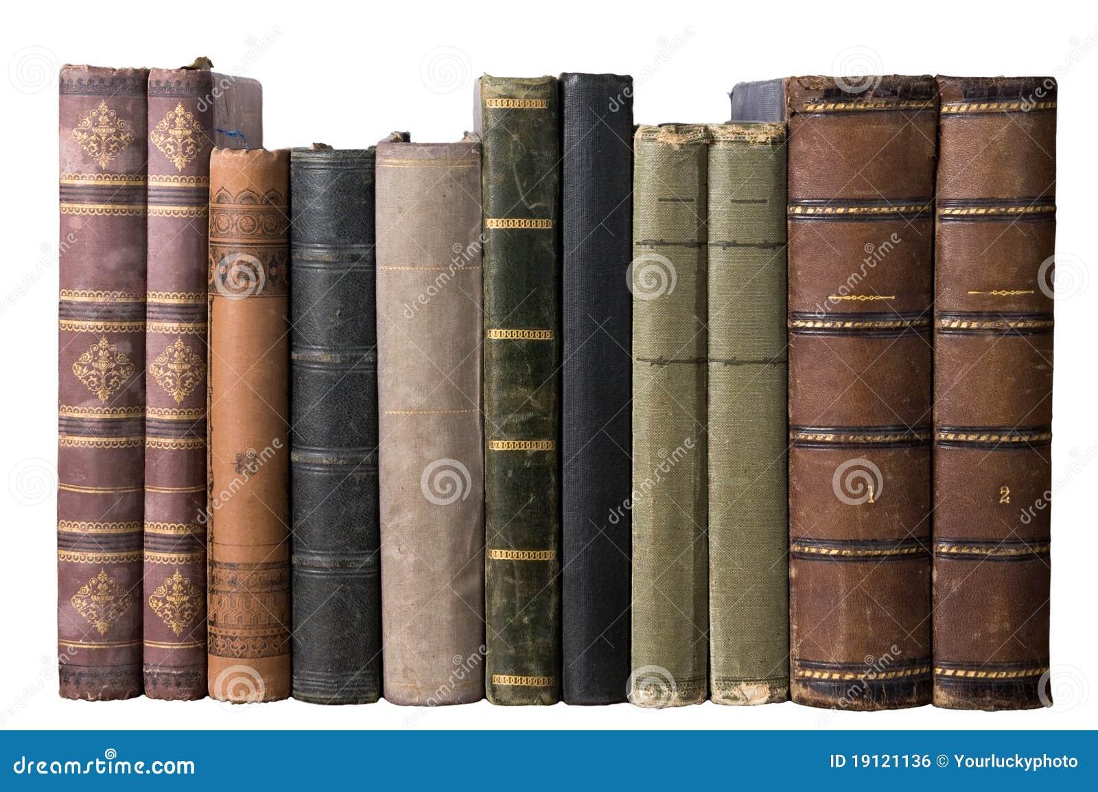 Fila aislada con los libros viejos