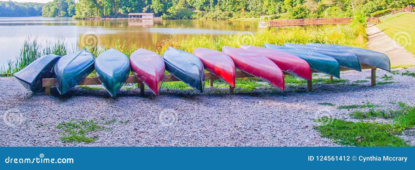 Fila de canoas en el lago grande