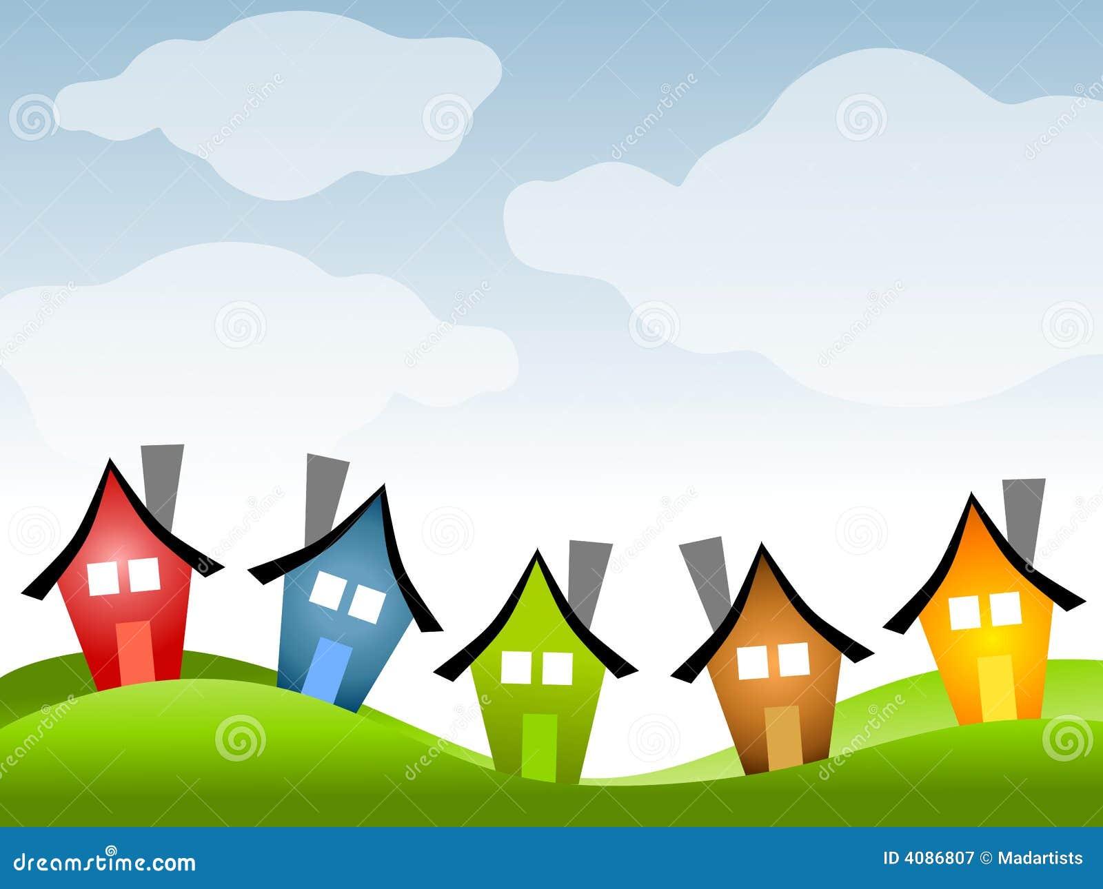 Fila de casas bajo el cielo azul