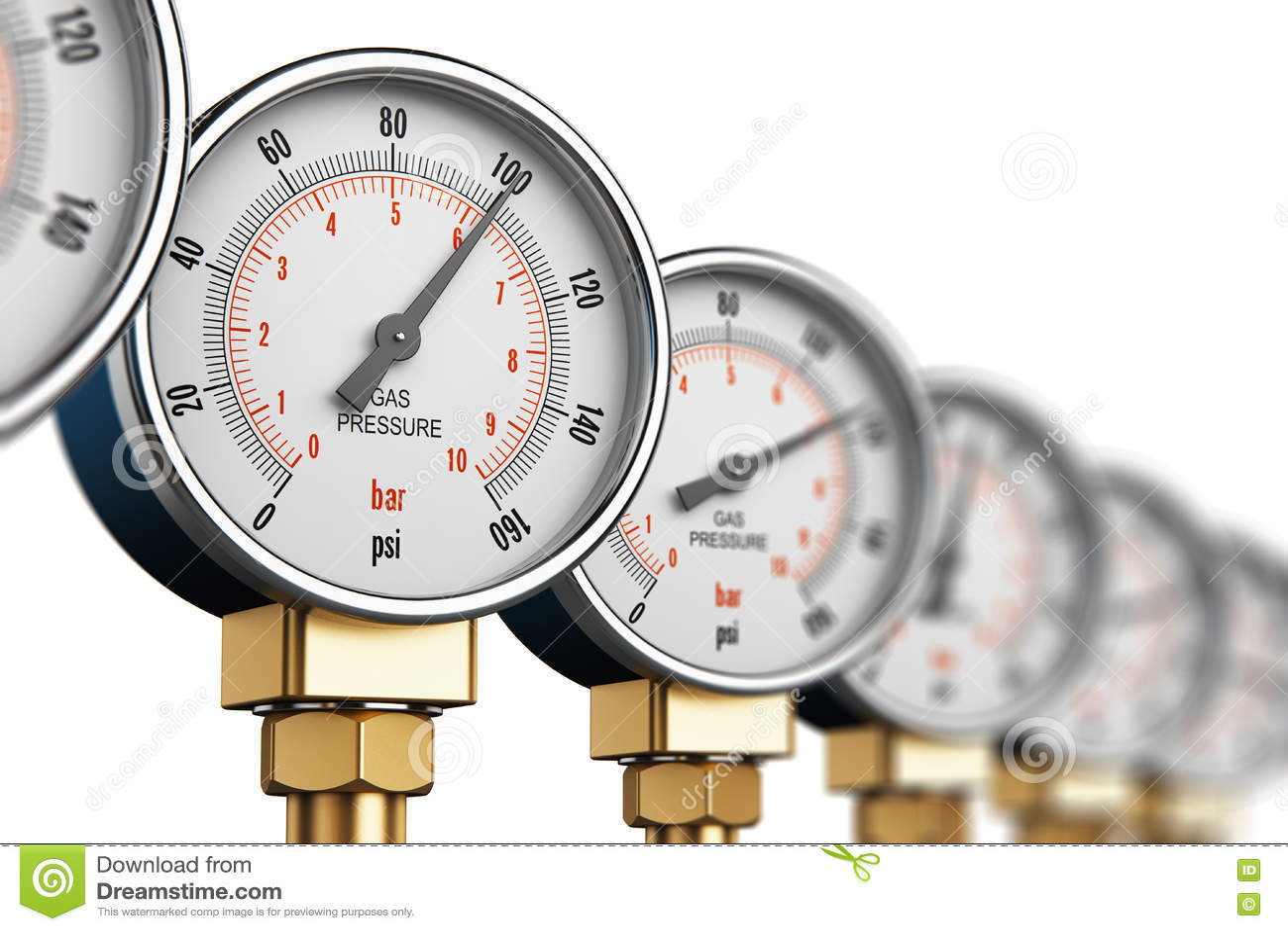 Fila de los metros de alta presión industriales del indicador del gas