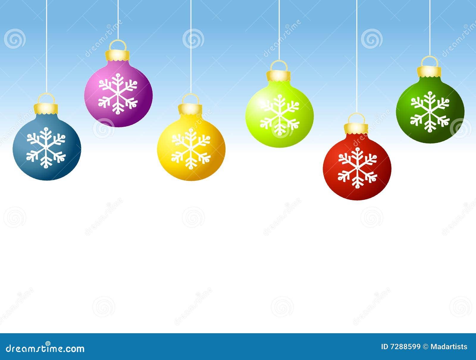 Fila de los ornamentos de Navidad