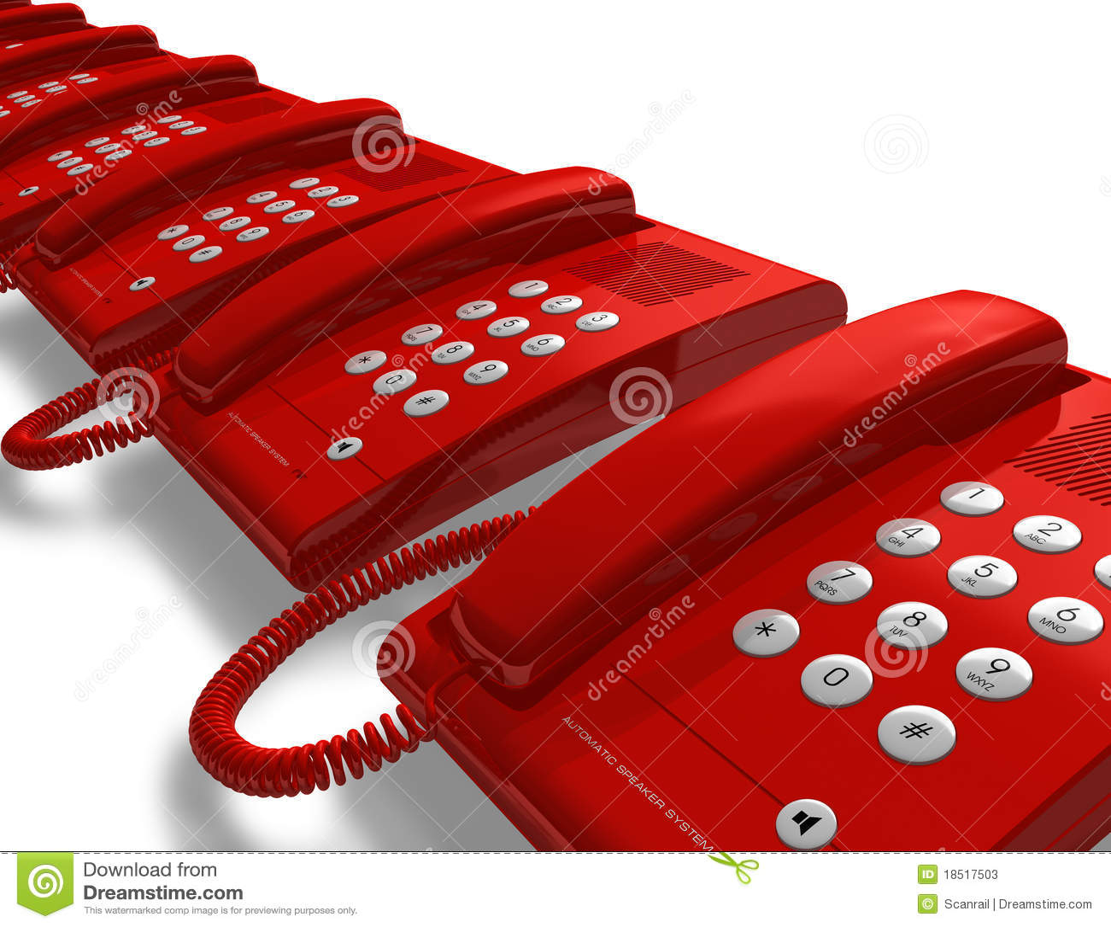Fila de los tel fonos rojos de la oficina fotos de archivo for Telefono de la oficina