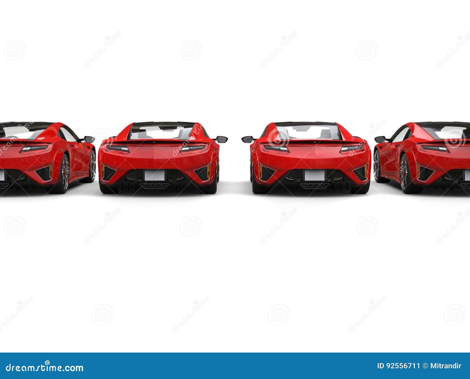 Fila delle automobili sportive di lusso moderne - vista posteriore
