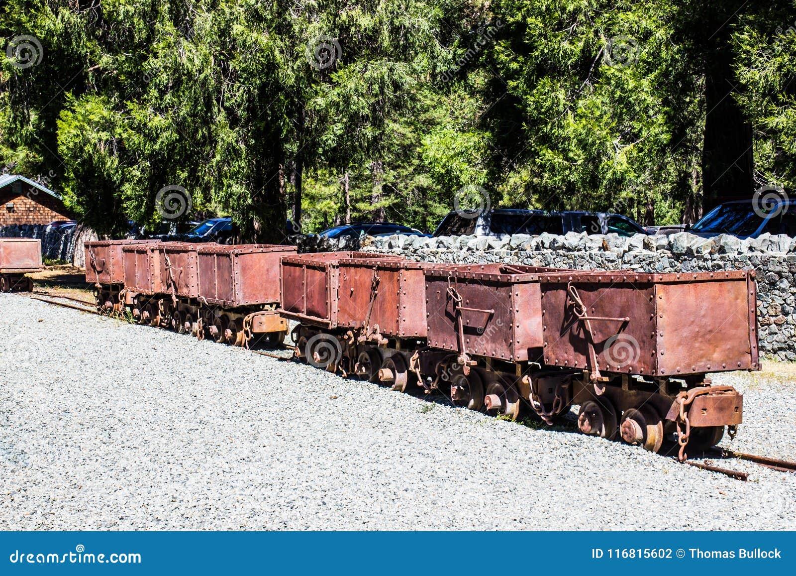 Fila delle operazioni d annata di Rusty Ore Carts From Mining