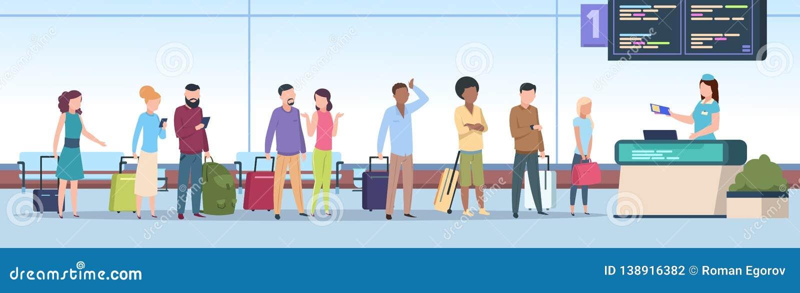 Fila do aeroporto Os passageiros do avião verificam o terminal de aeroporto do registro Povos de viagem, bagagem que espera na po