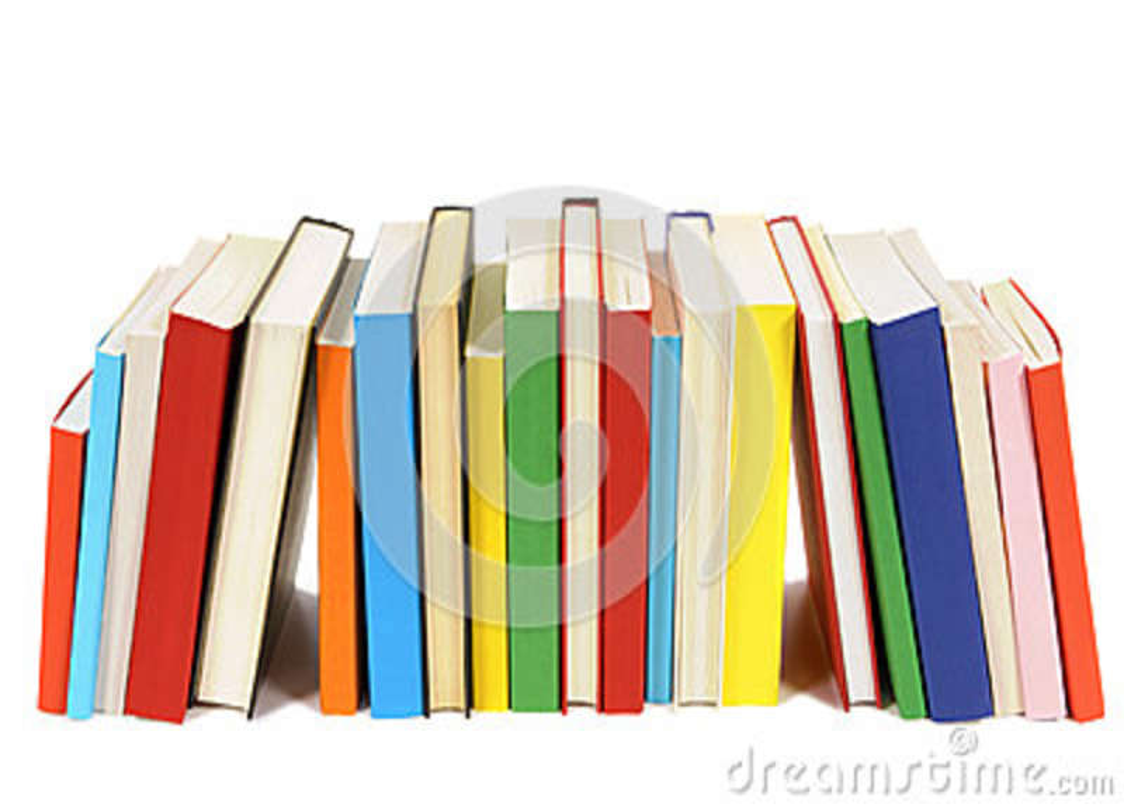 Fila Larga De Los Libros Coloridos De La Biblioteca Aislados En El ...