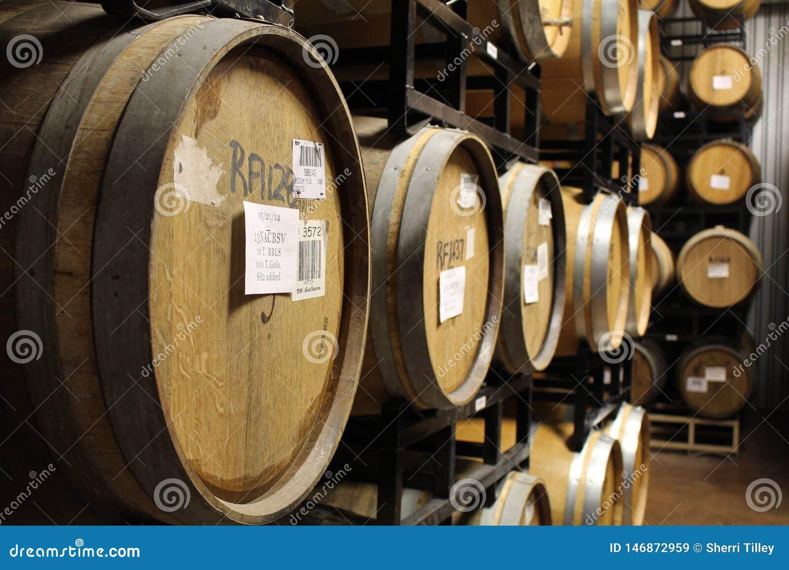 Filas de los barriles vino-llenados del barril en un sótano del lagar