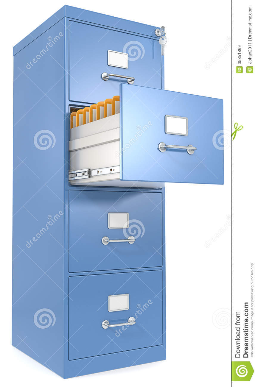 blue cabinet drawer file