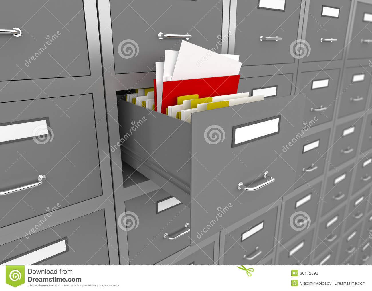 File Cabinet With An Open Drawer. Stock Illustration - Image: 36172592