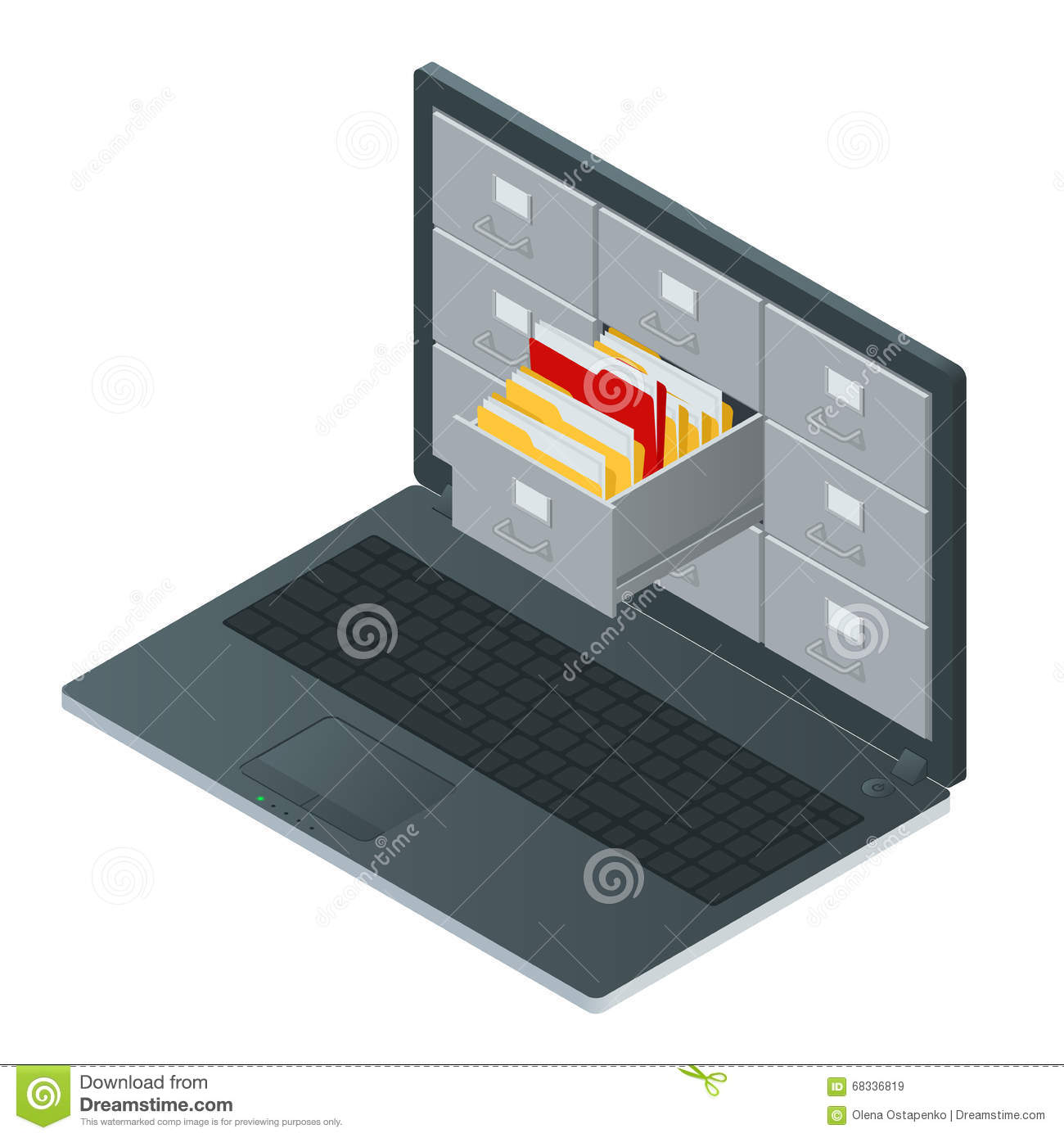 File Cabinets Inside The Screen Of Laptop Computer  Laptop