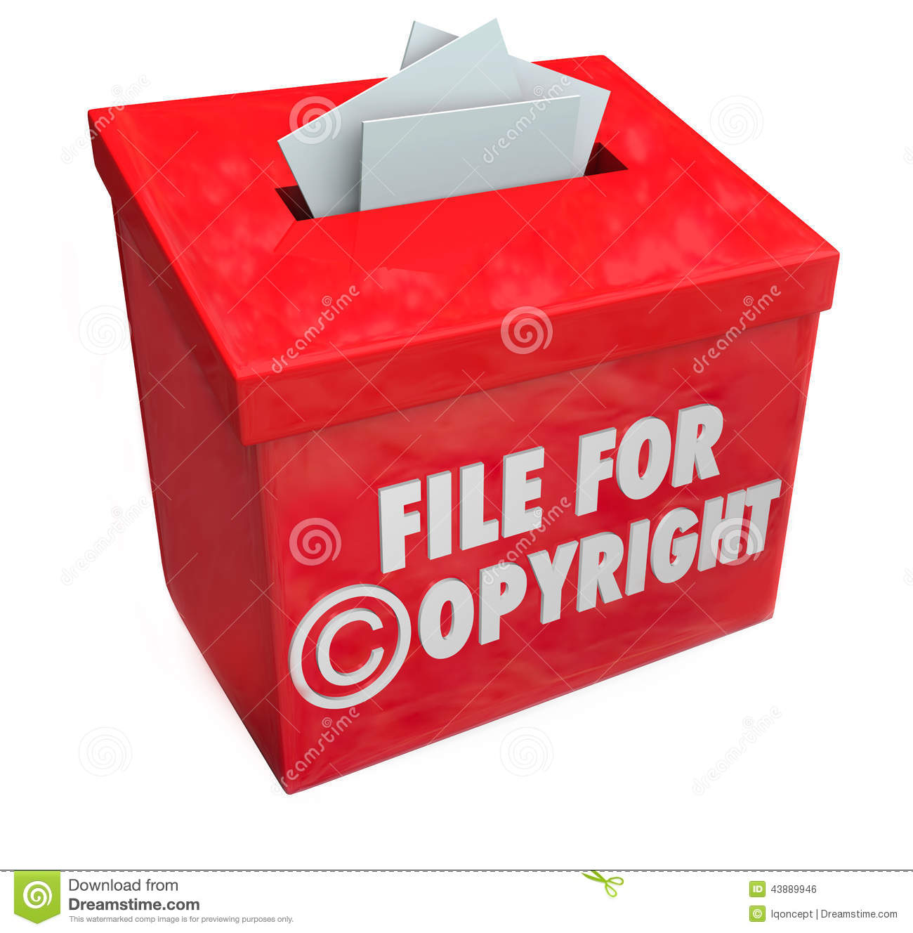 Intellectual Property Protection: File For Copyright Red 3d Entry Box Intellectual Property