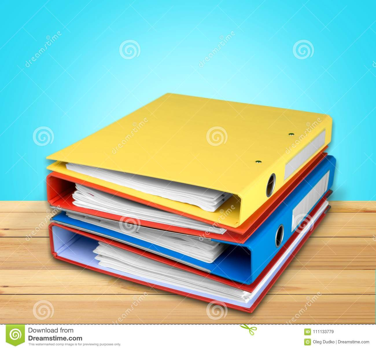 File folders with documents isolated on light