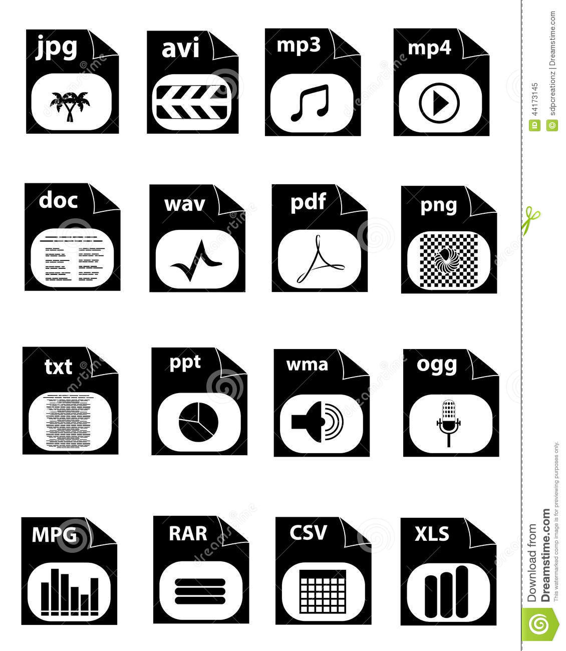 File Extension Icons Stock Vector - Image: 44173145