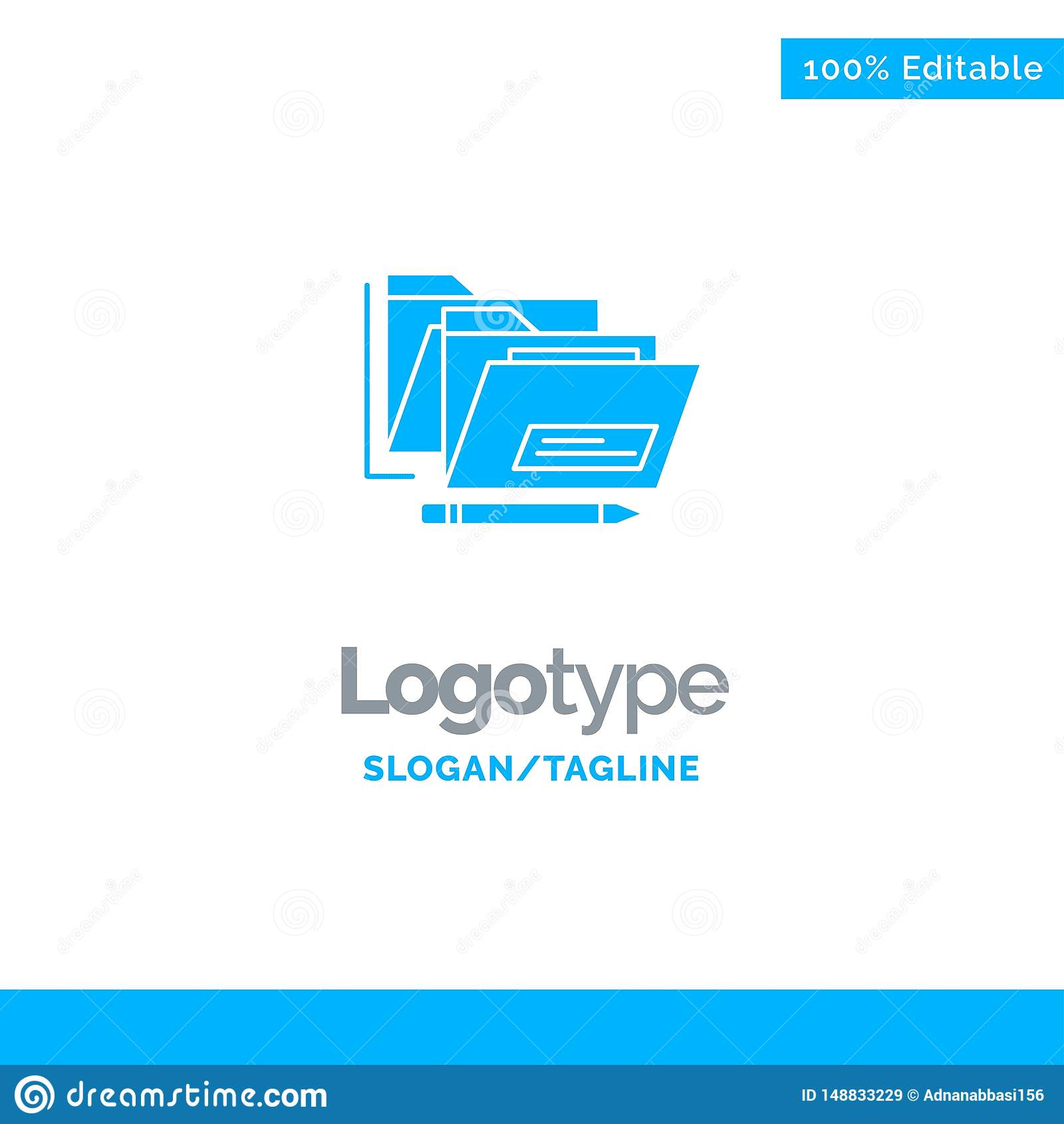File, Folder, Date, Safe Blue Solid Logo Template. Place for Tagline