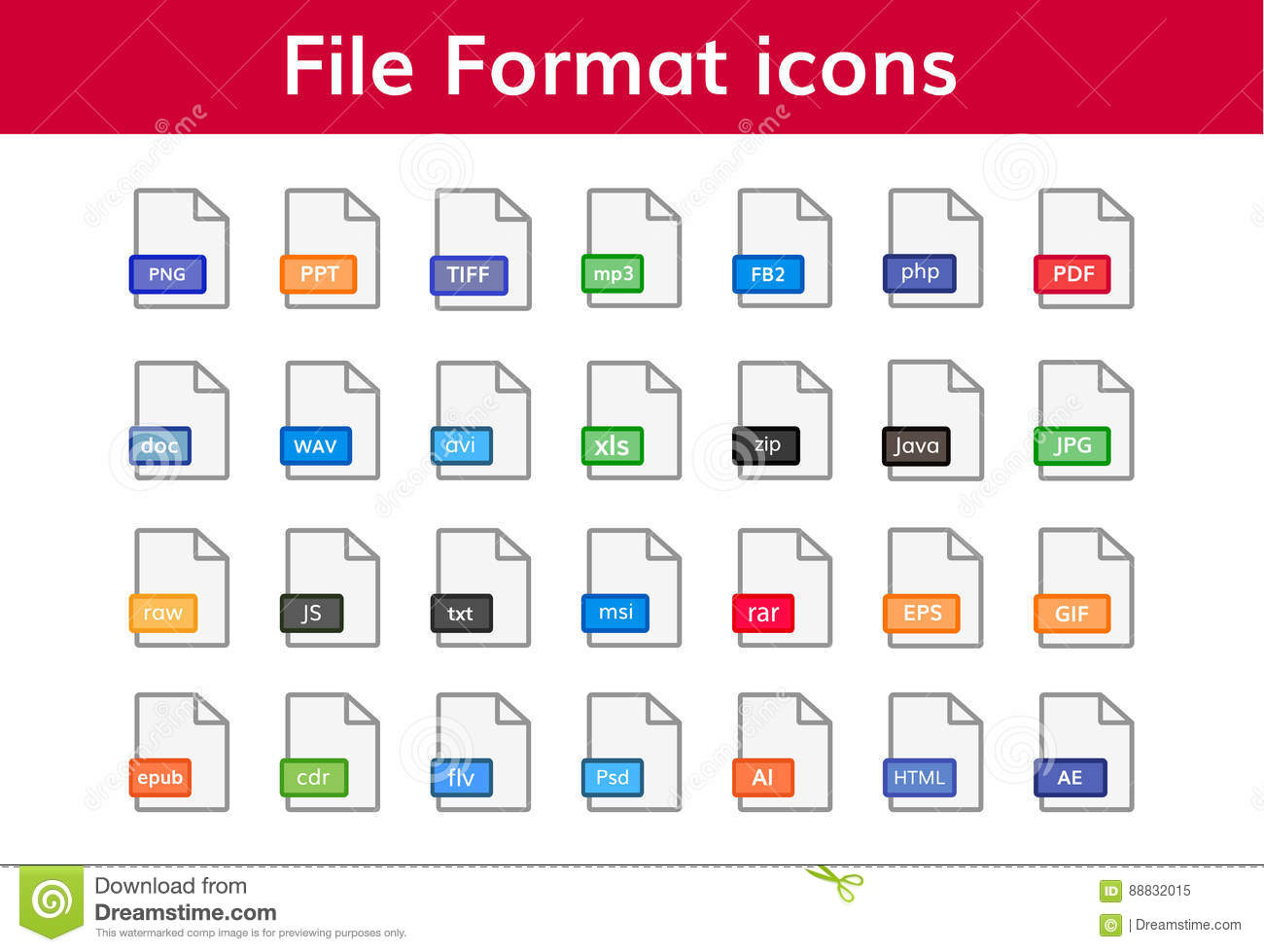 File format icon big set stock vector  Illustration of download