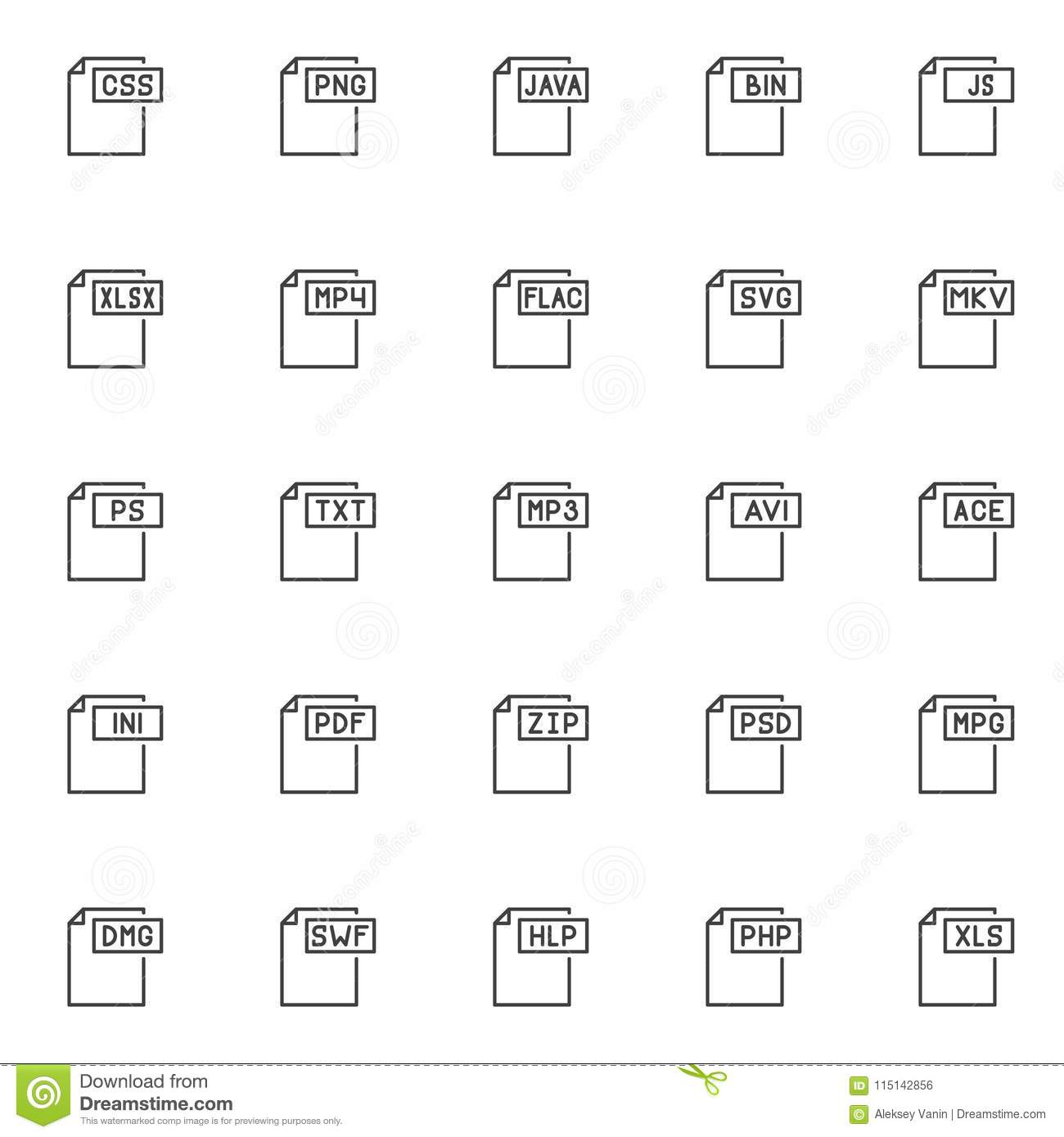 file formats outline icons set stock vector illustration of design