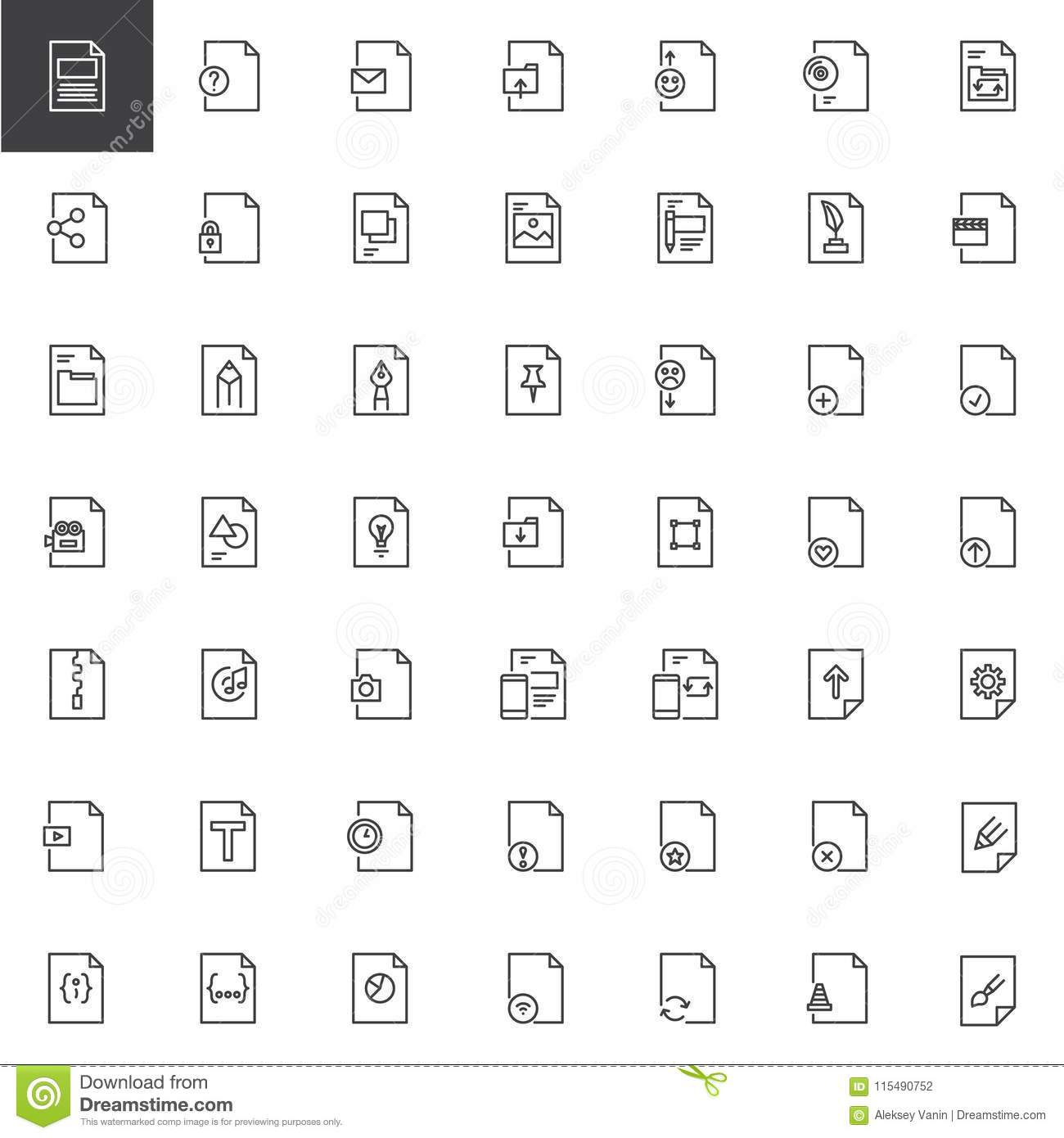 File Formats Outline Icons Set Stock Vector - Illustration of