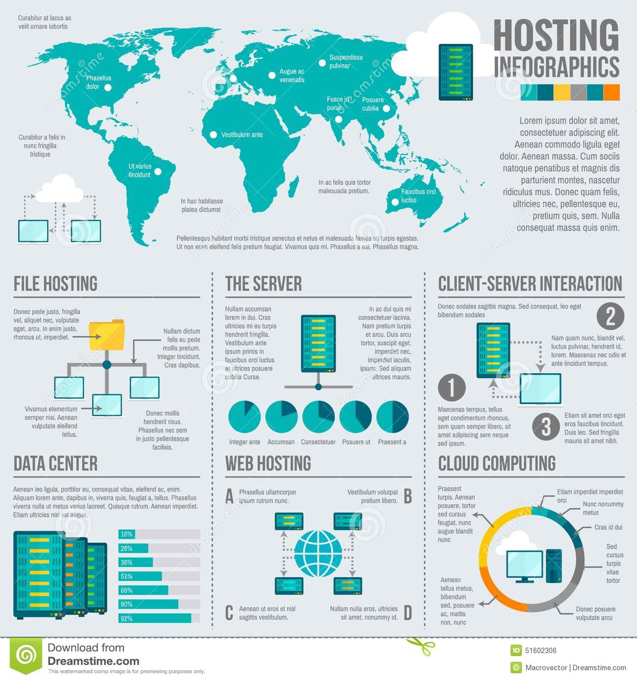 File Hosting Worldwide Infographic Poster Stock Vector ...