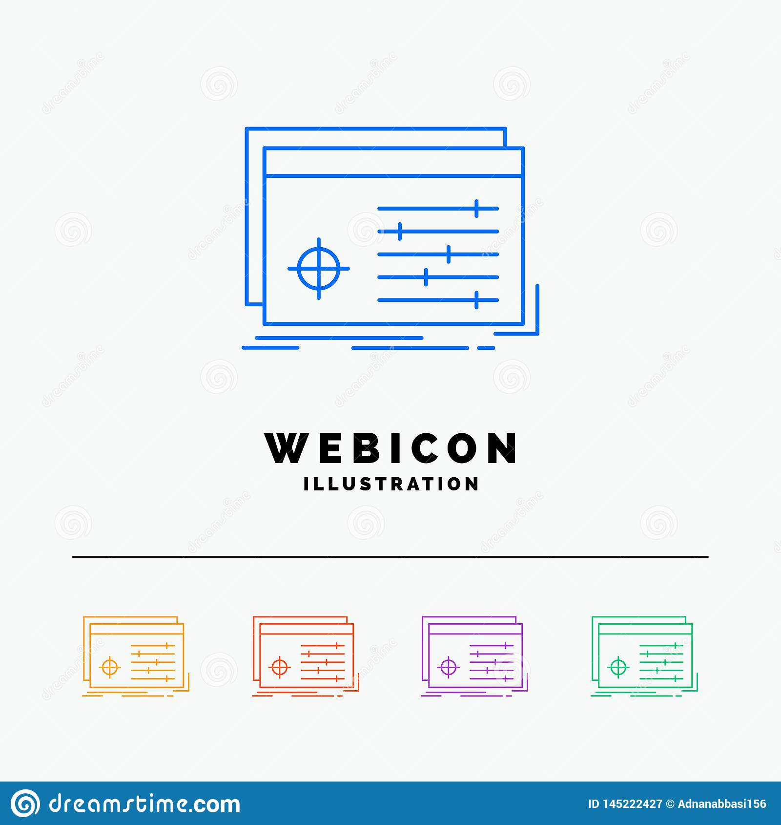 File, object, processing, settings, software 5 Color Line Web Icon Template isolated on white. Vector illustration