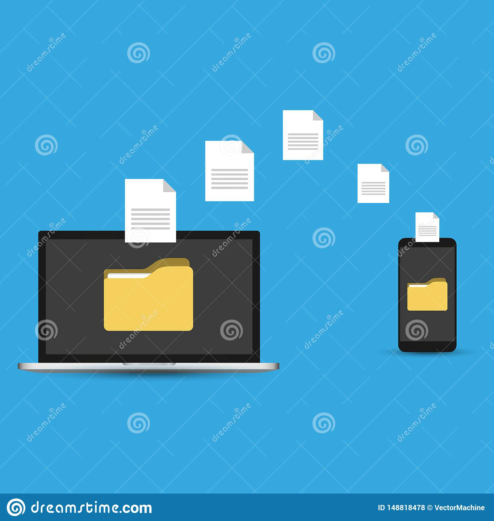 File transfer. Hand holding smartphone with folder on screen and documents transferred to laptop. Copy files, backup, file sharing