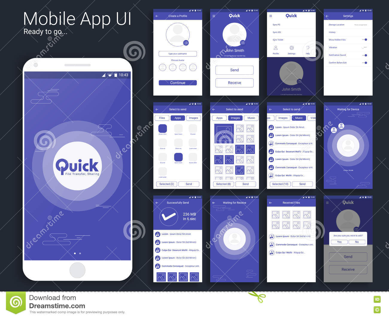 Mobile App Character Design : File transfer mobile app ui ux and gui layout stock