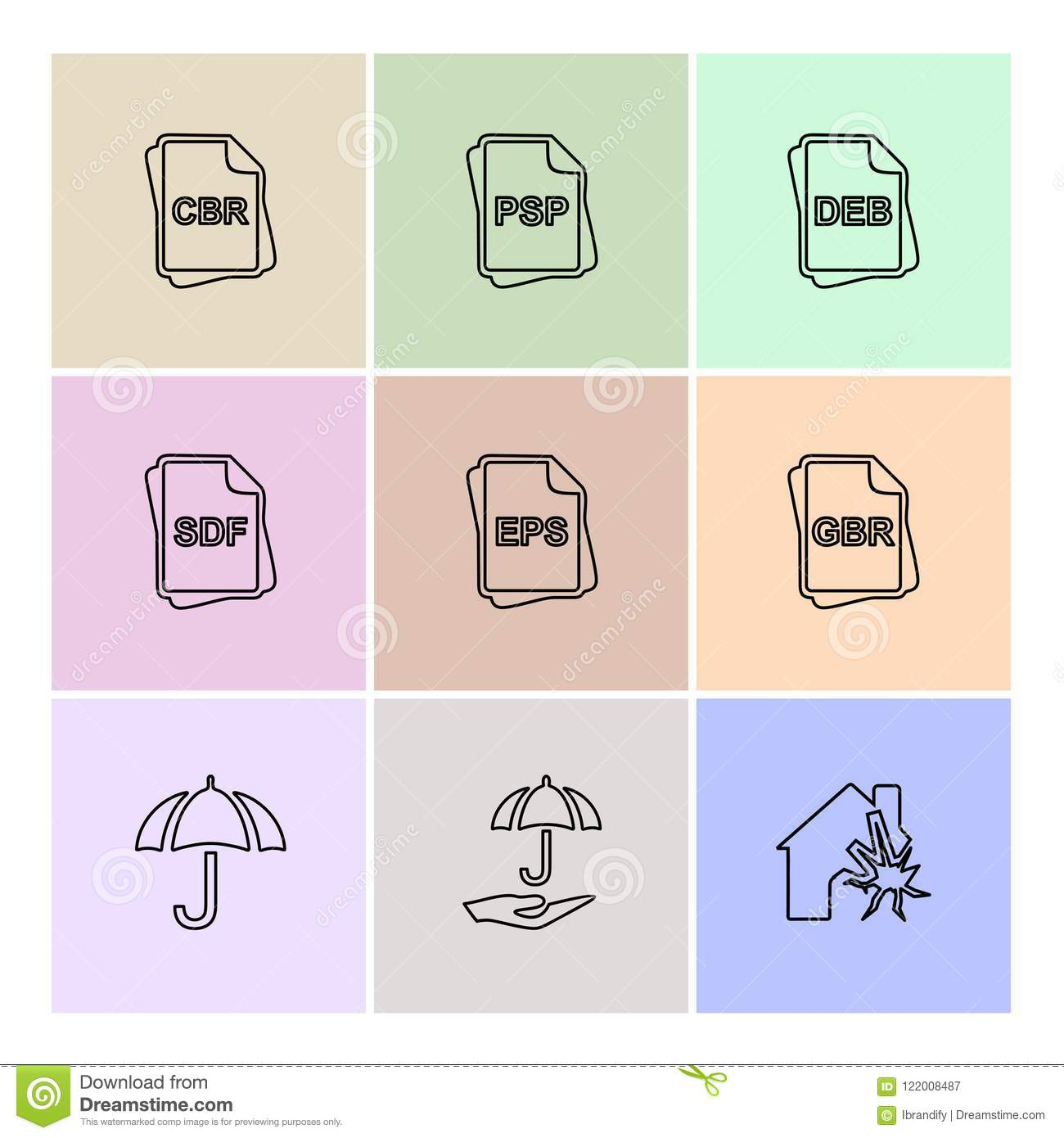 File Type , Files , Documents , Eps Icons Set Vector Stock