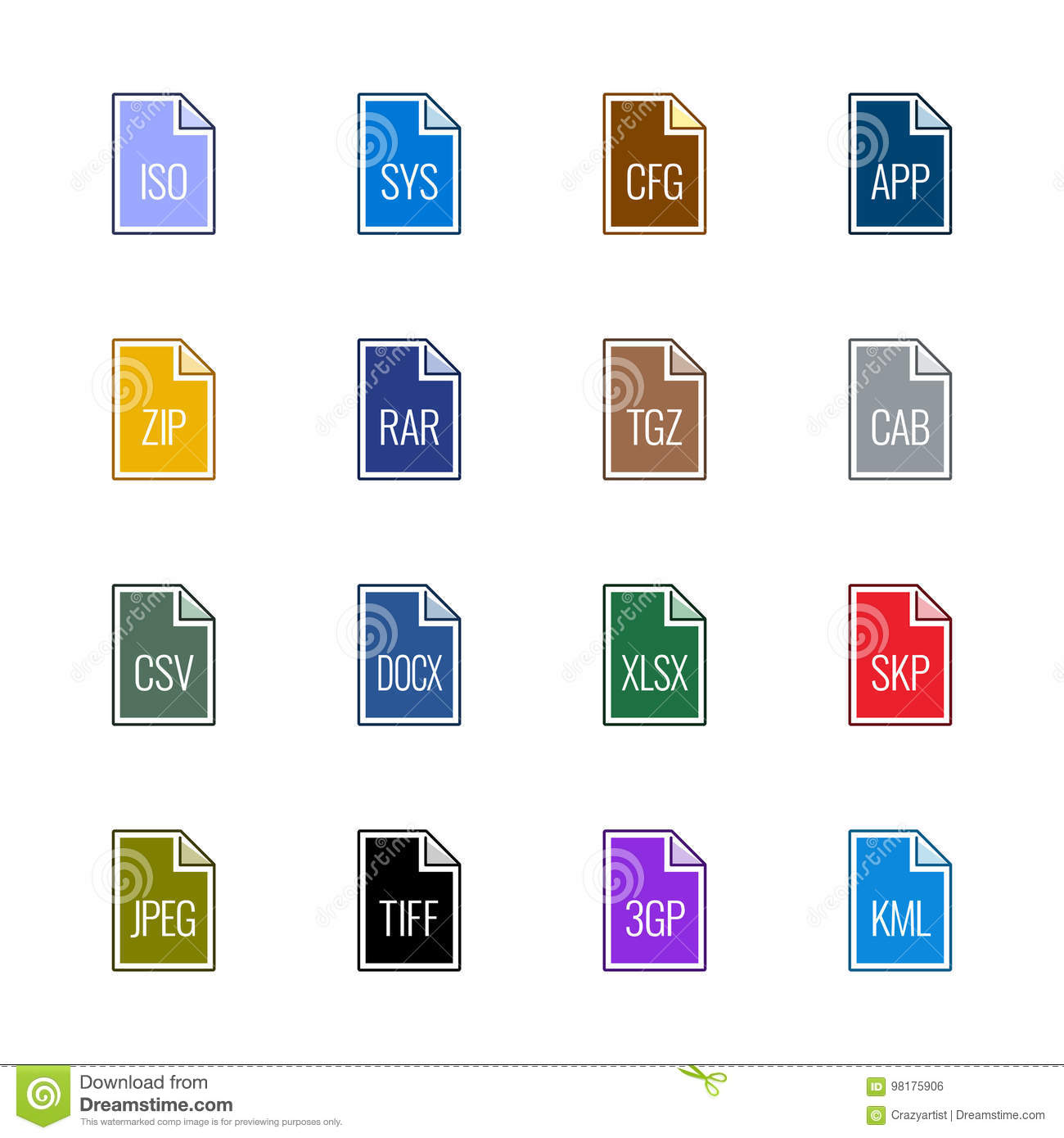 File type icons: Miscellaneous - Linne UL Color