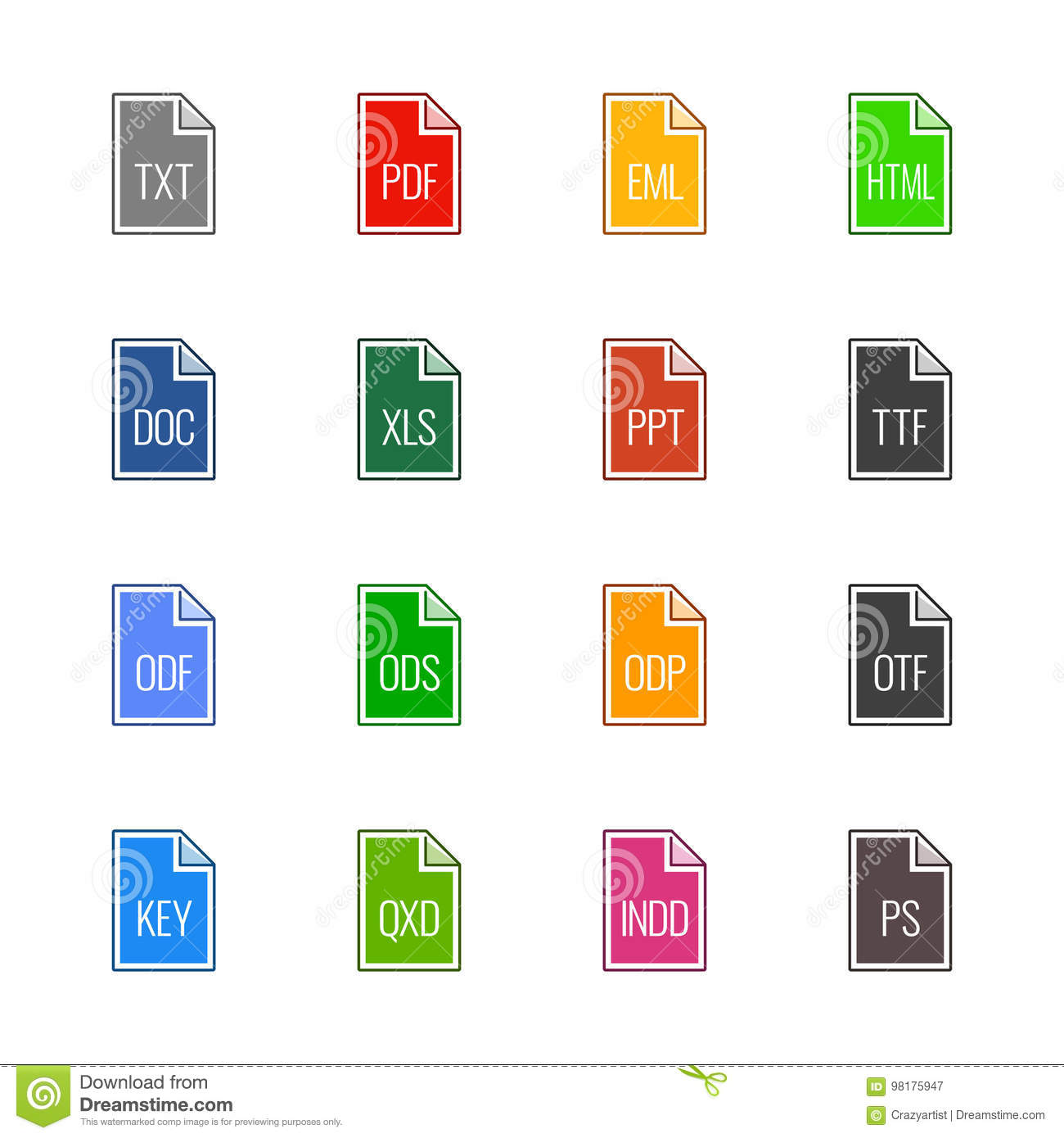 File type icons: Texts, fonts and page layout - Linne UL Color