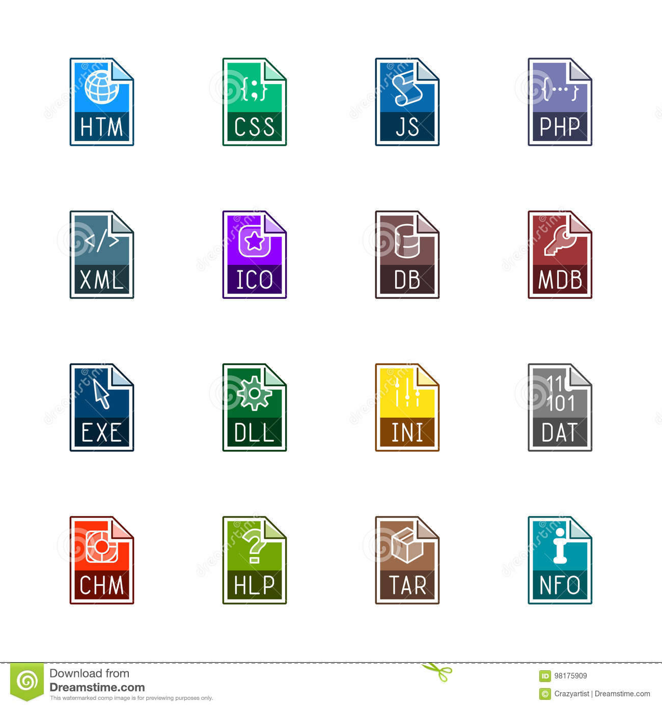 File type icons: Websites and applications - Linne Color