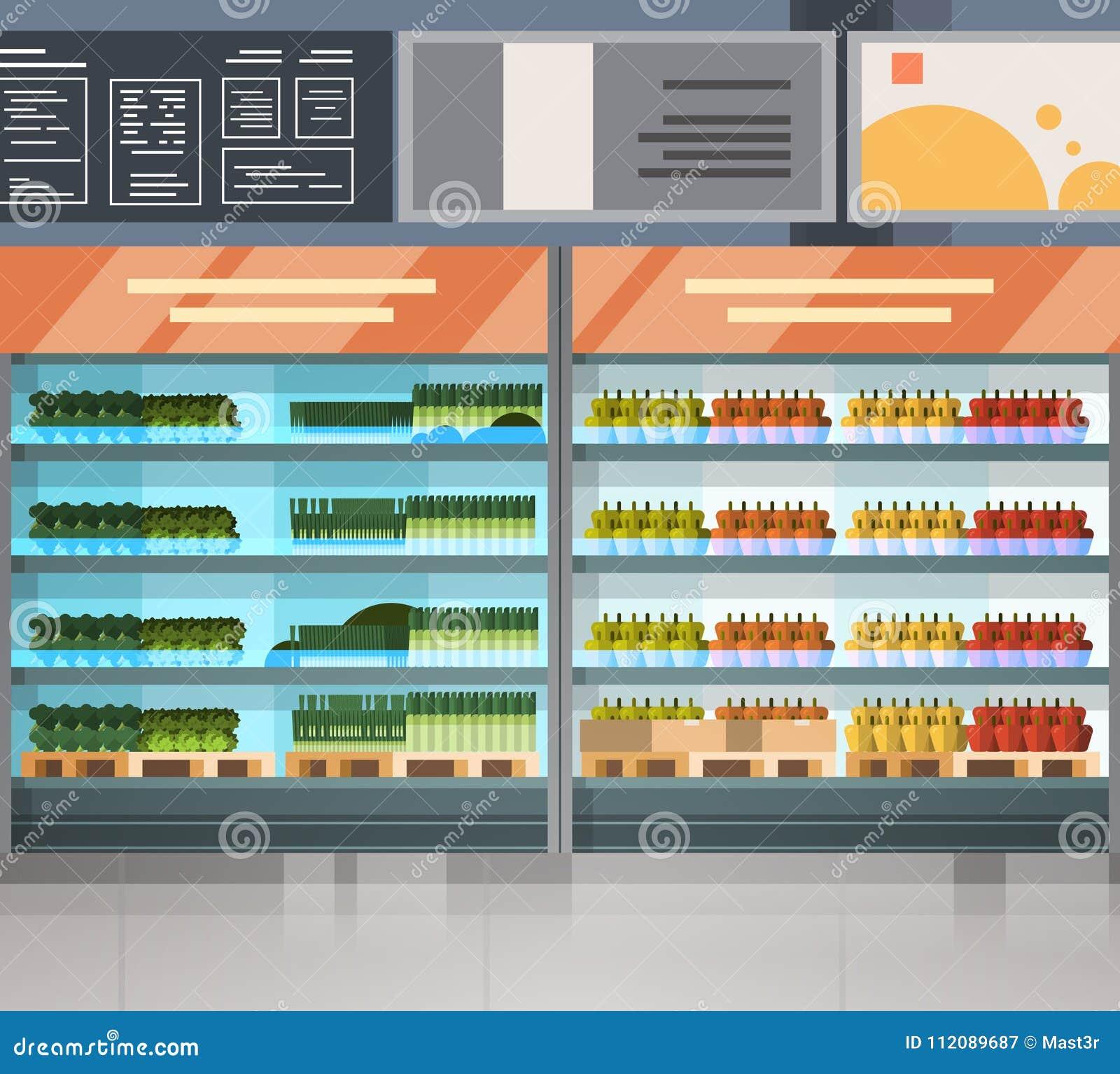 Fileira da mercearia com os produtos frescos no interior moderno do supermercado das prateleiras