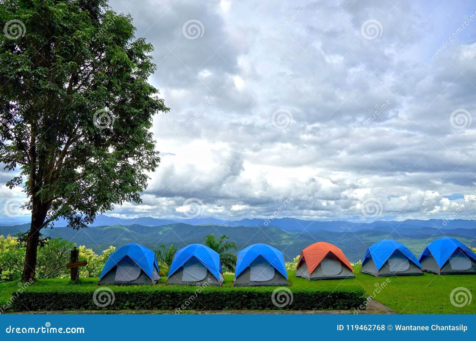 Fileira de barracas de acampamento azuis e alaranjadas na grama verde