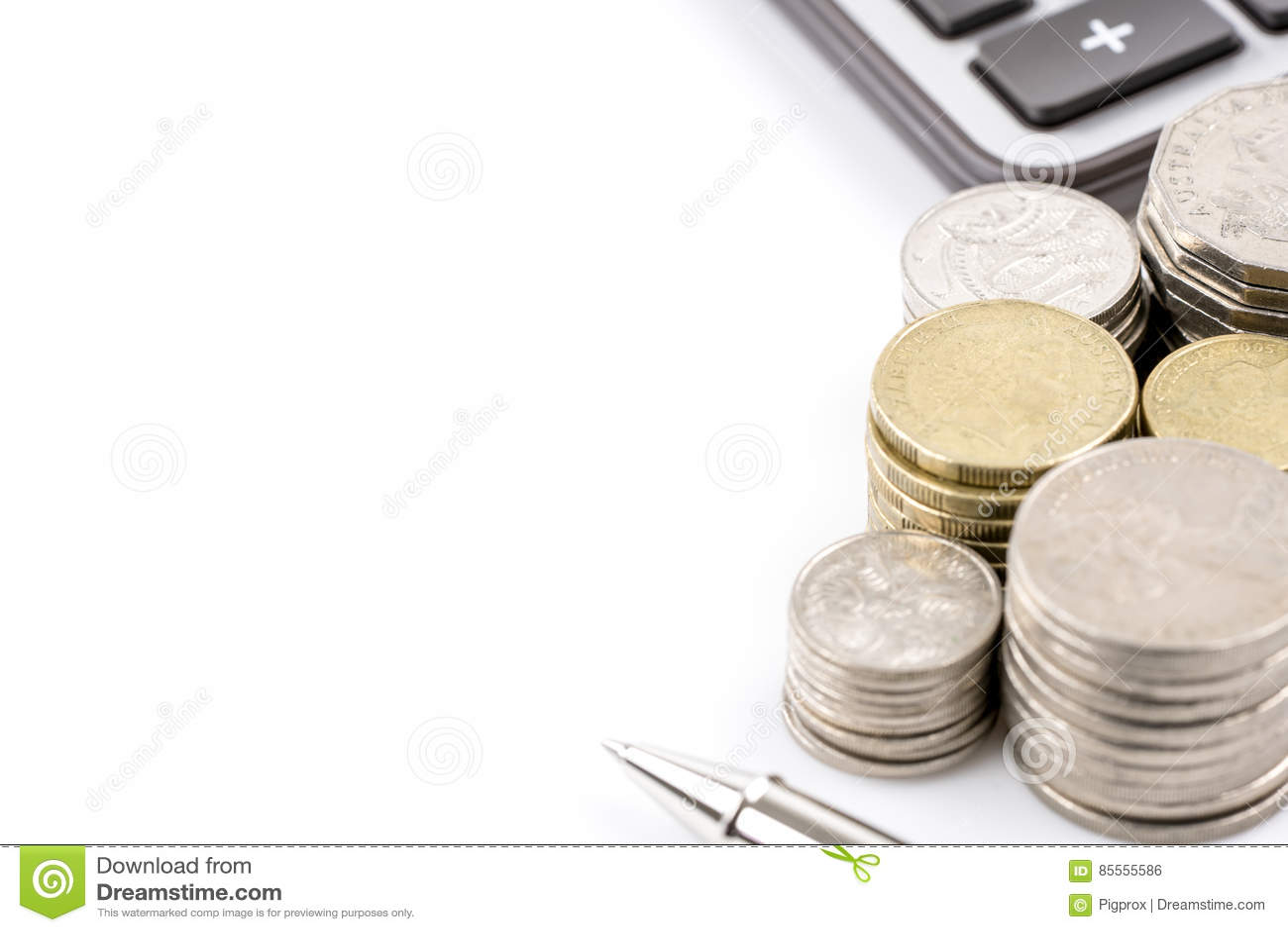 Fileira do conceito australiano da finança da moeda das moedas no backgr branco