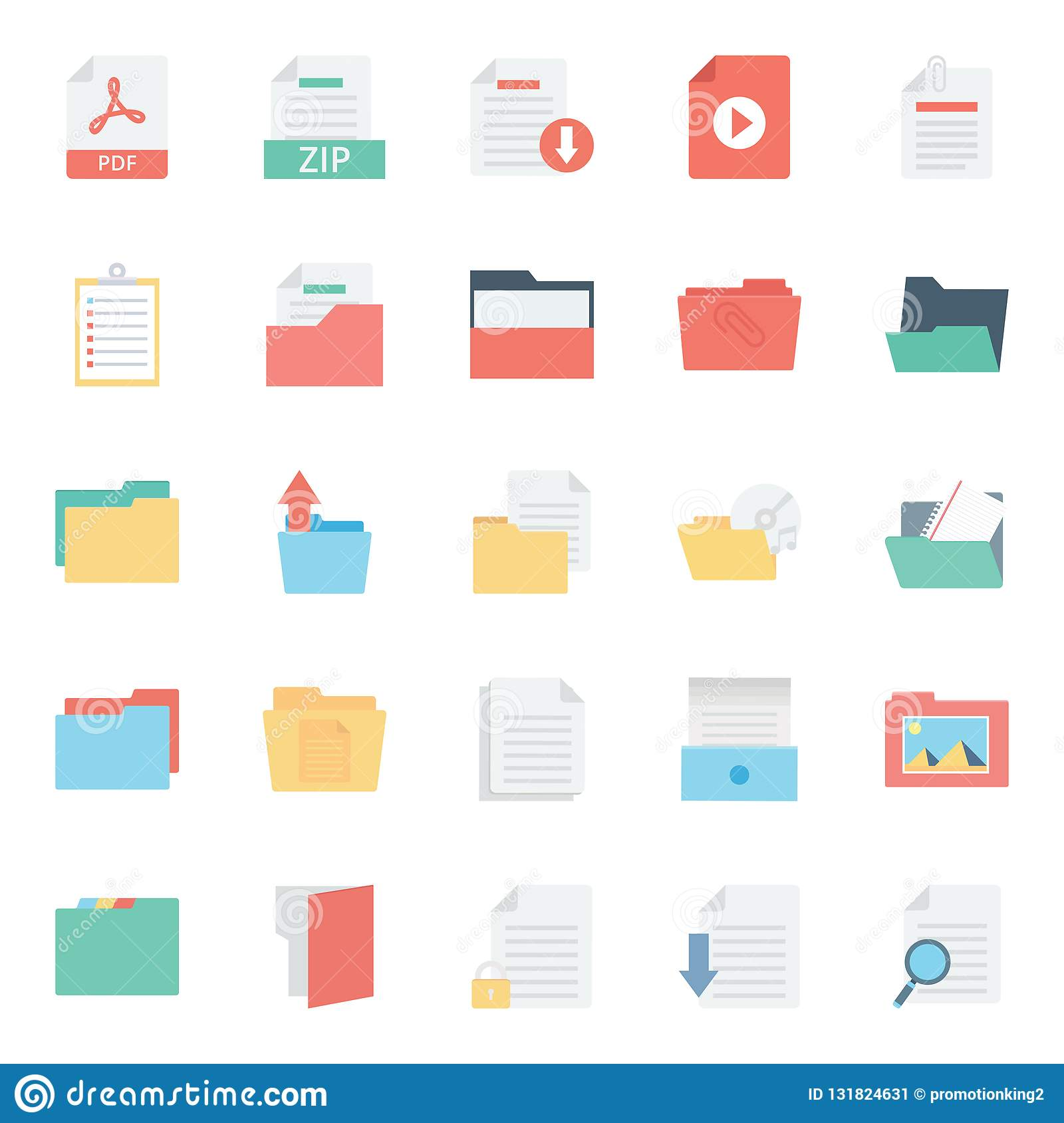 Files and Folder Isolated vector Icons Set Every Folder or files Icons Can be easily Color modified or edited in any style or Col