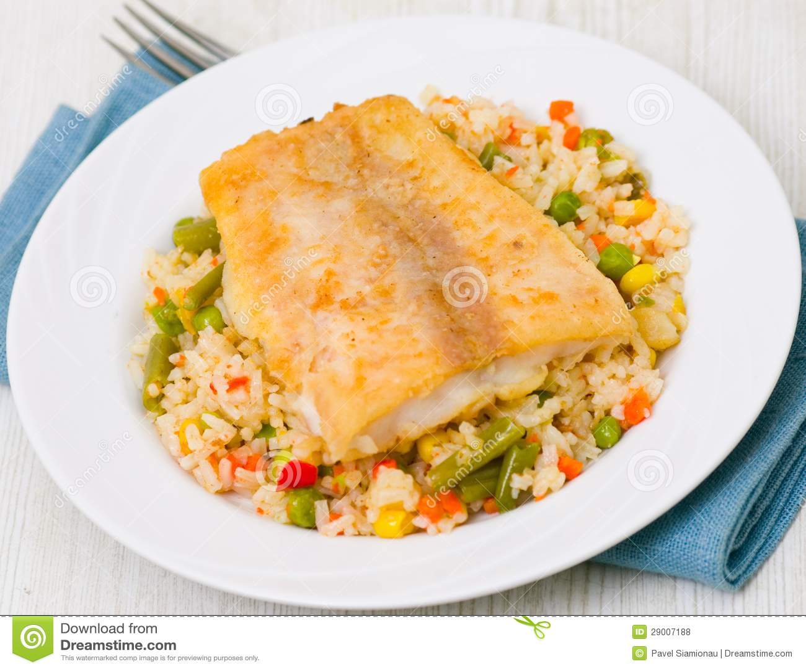 Filet de poissons avec du riz et des l gumes photos libres de droits image 29007188 - Absorber l humidite avec du riz ...