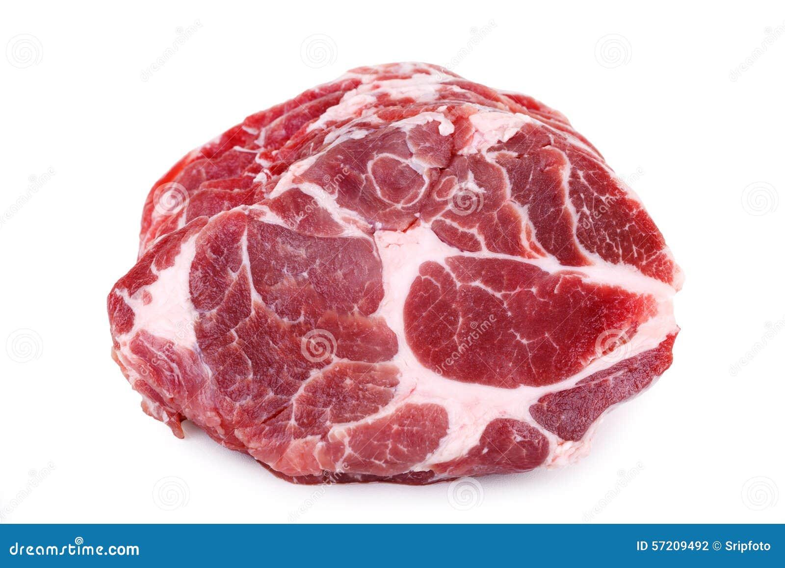 Filete crudo fresco de la carne del cuello del cerdo aislado en el fondo blanco
