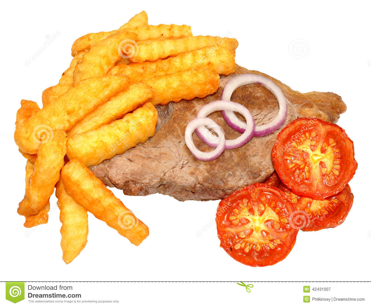 Filete y Chips With Grilled Tomatoes