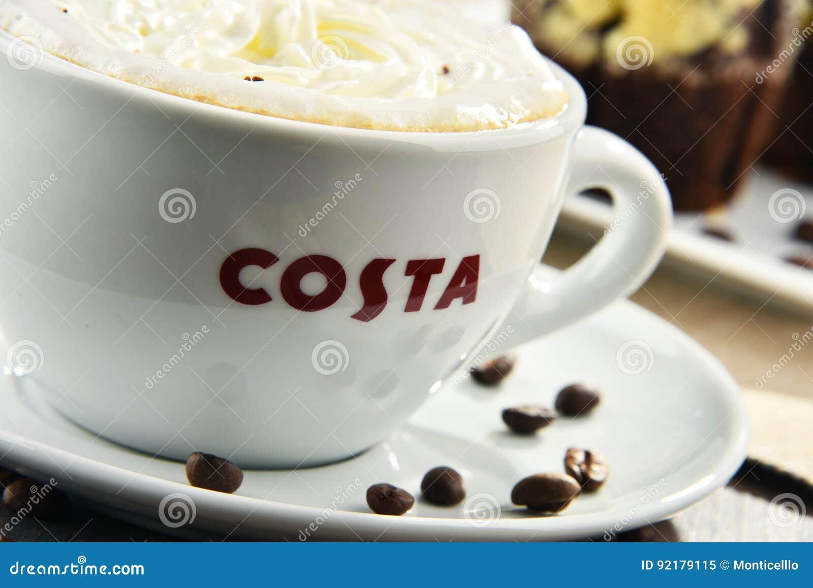 Filiżanka Costa Kawowa Kawa Muffins I Obraz Editorial Obraz Złożonej Z Fasola 92179115