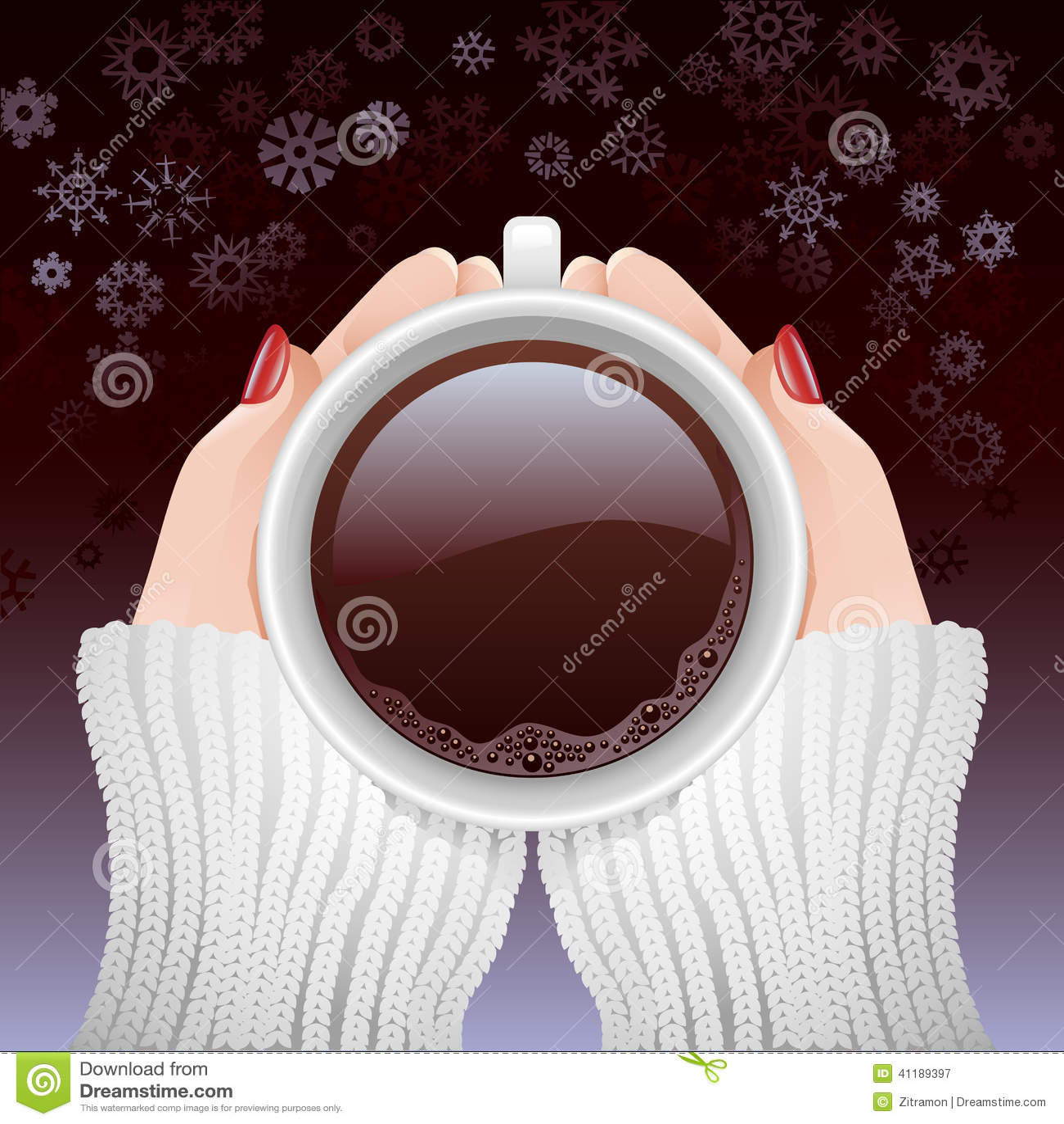 Filiżanka gorąca kawa w zimnym sezonie