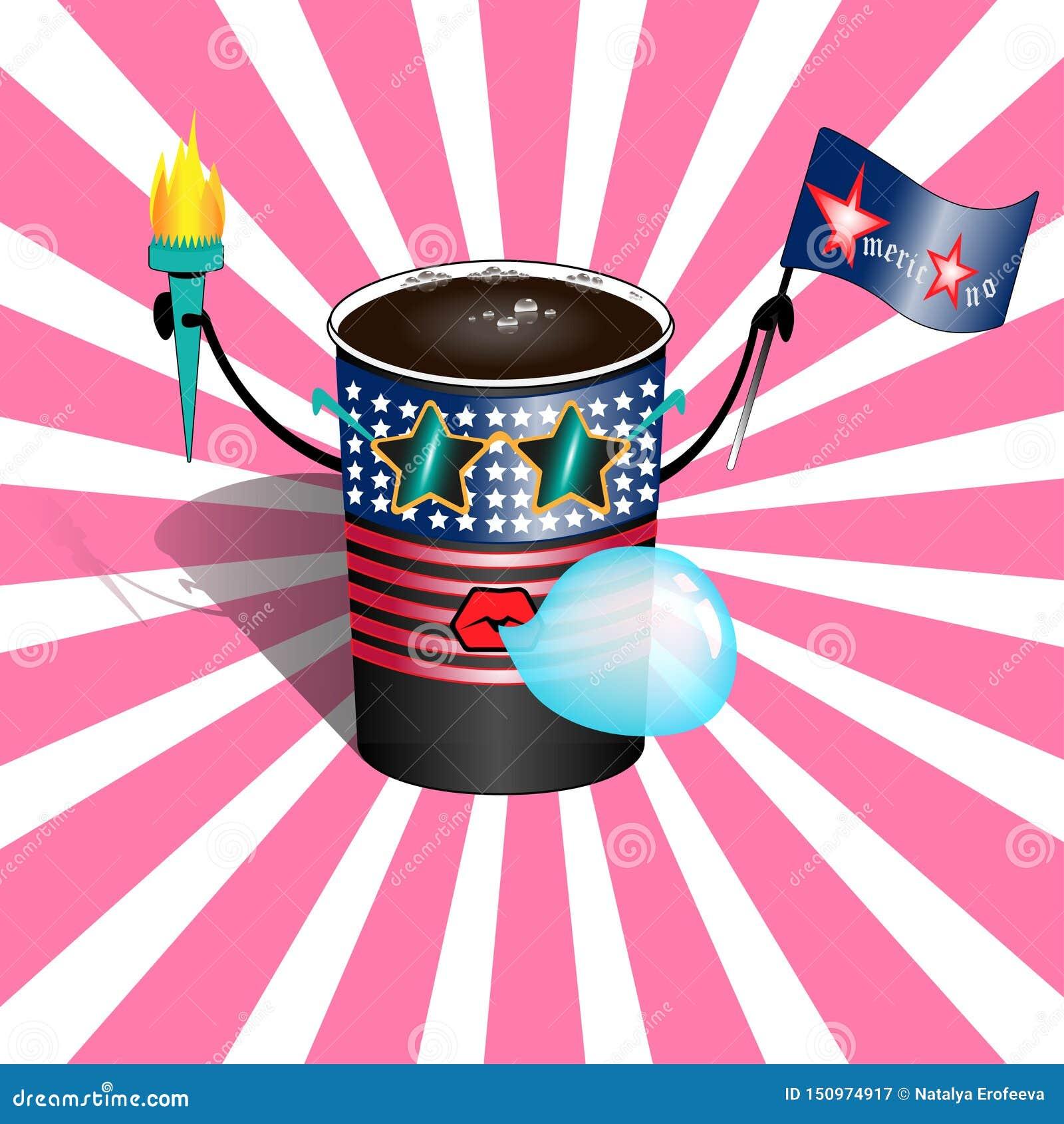 Filiżanka gorący americano w rocznik kreskówki wystrzału sztuki komicznym stylu Postać z kreskówki filiżanka kawy Americano w