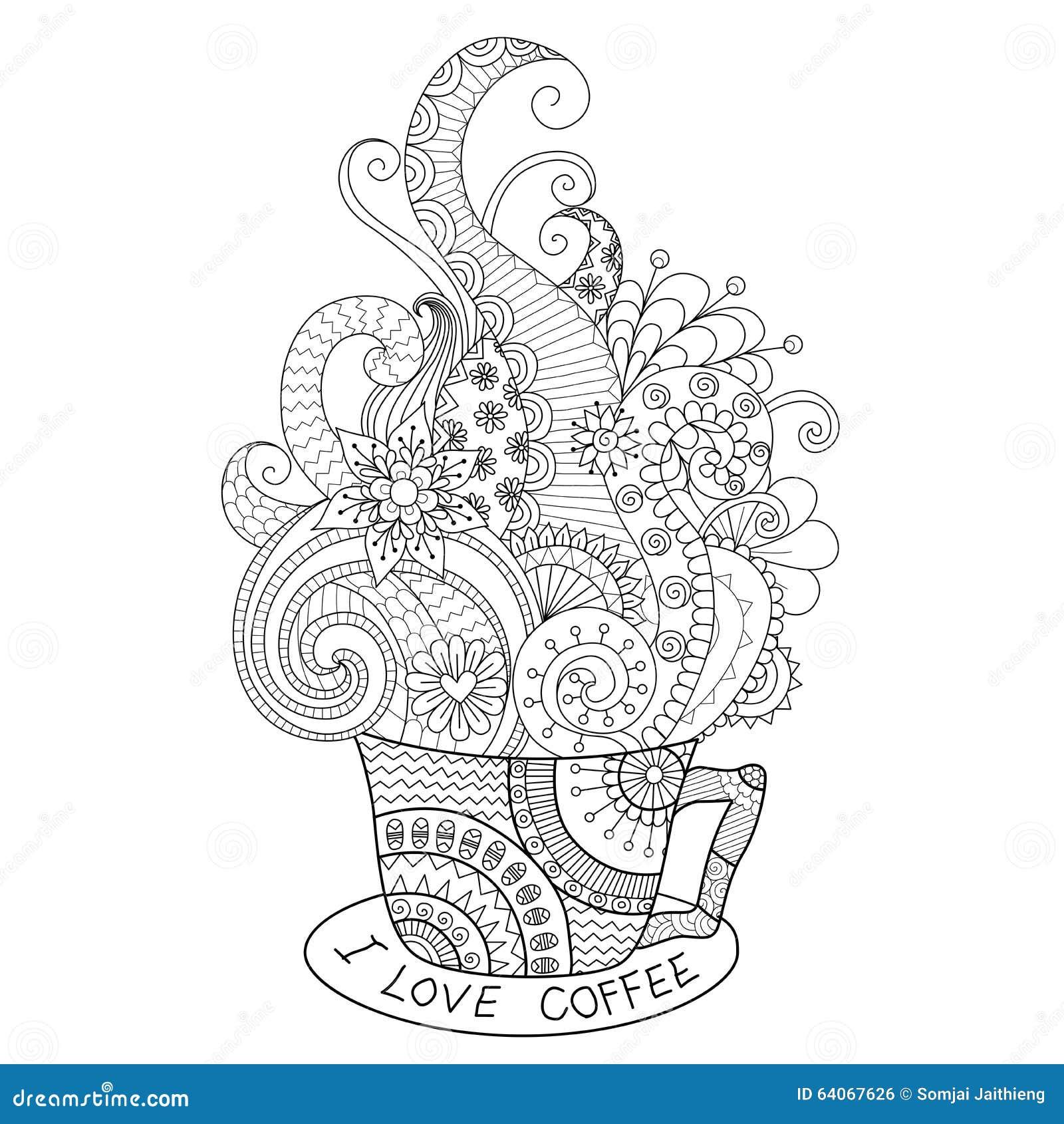 Filiżanka gorący kawowy zentangle projekt dla kolorystyki książki dla dorosłego