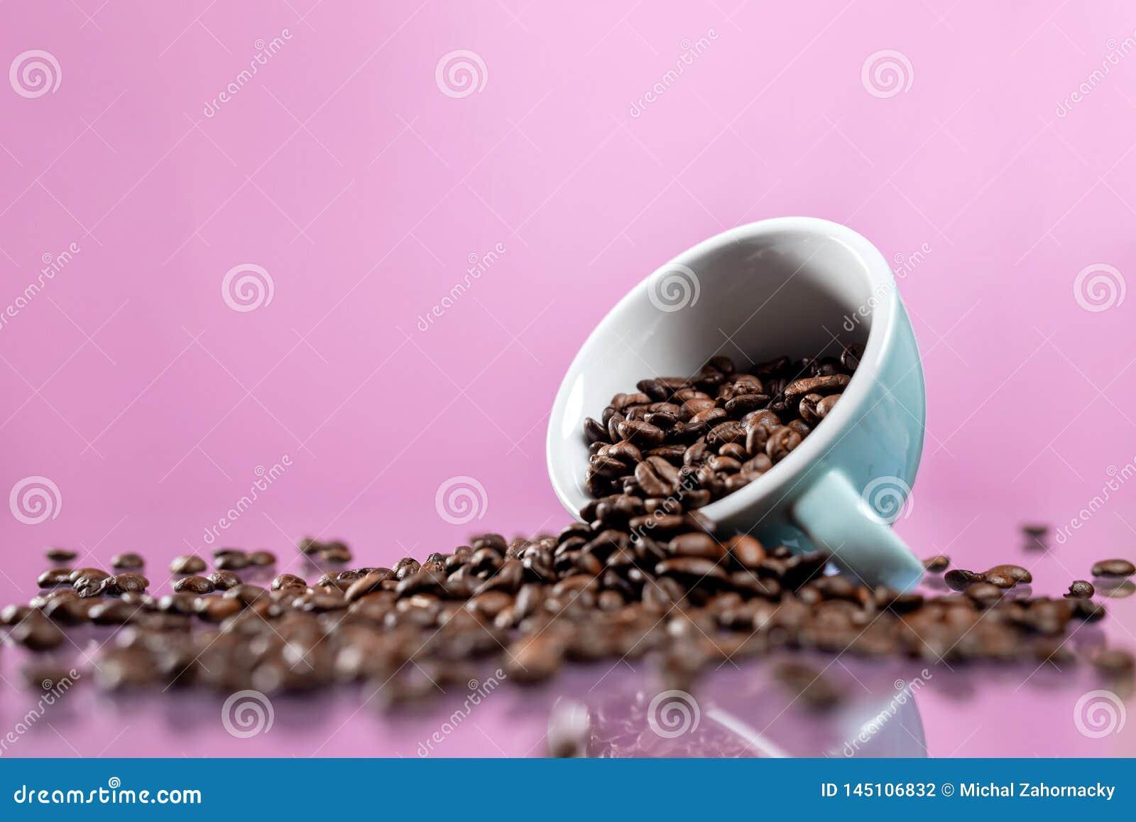 Fili?anka i kawowe fasole na koloru tle