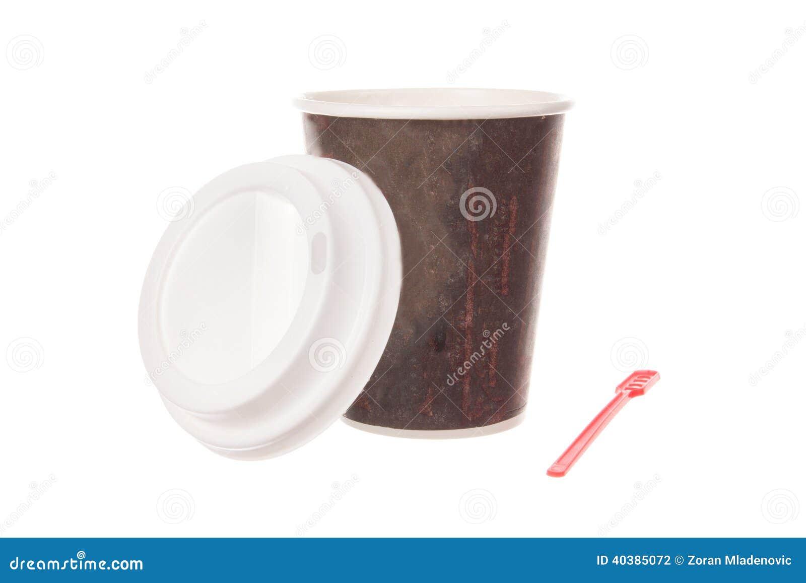 Filiżanka kawy dla bierze daleko od z nakrętką i łyżką