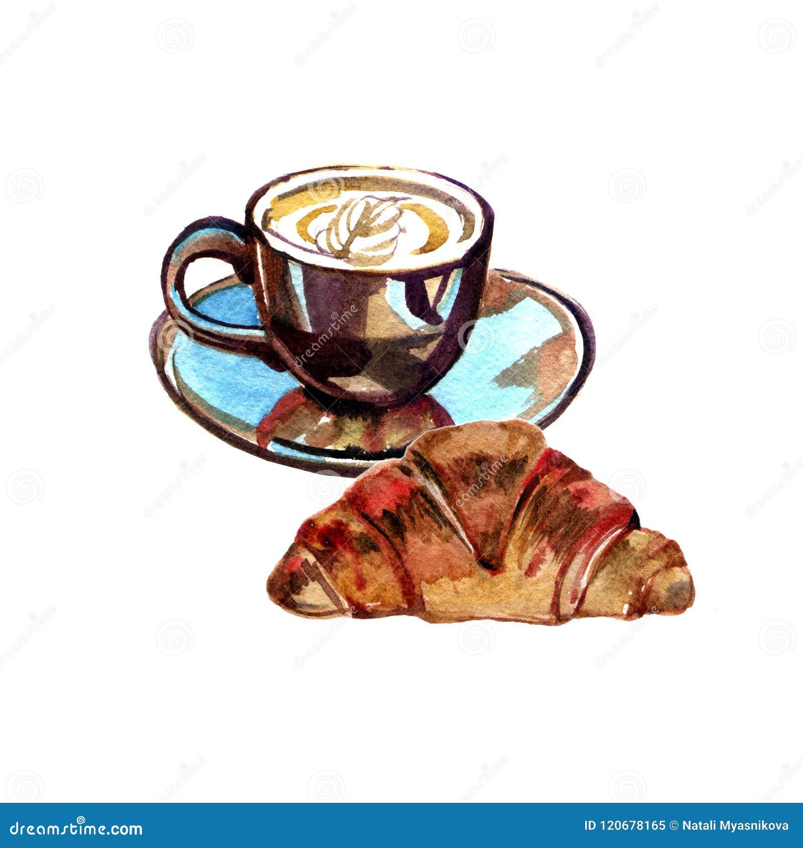 Filiżanka kawy i croissant Akwarela obrazu ilustracja na białym tle