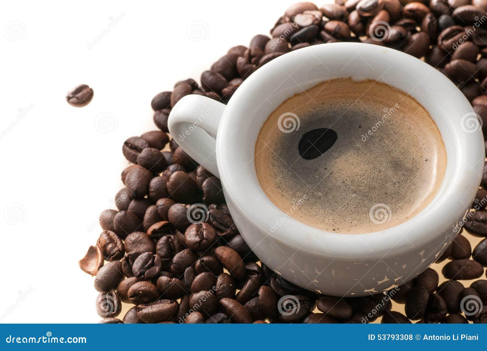 Filiżanka kawy z fasolami