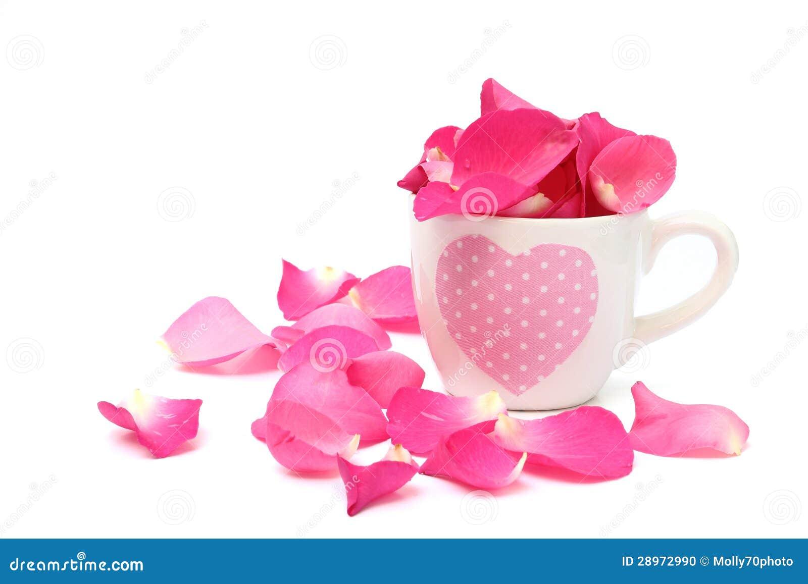 Filiżanka pełno różani płatki na białym tle